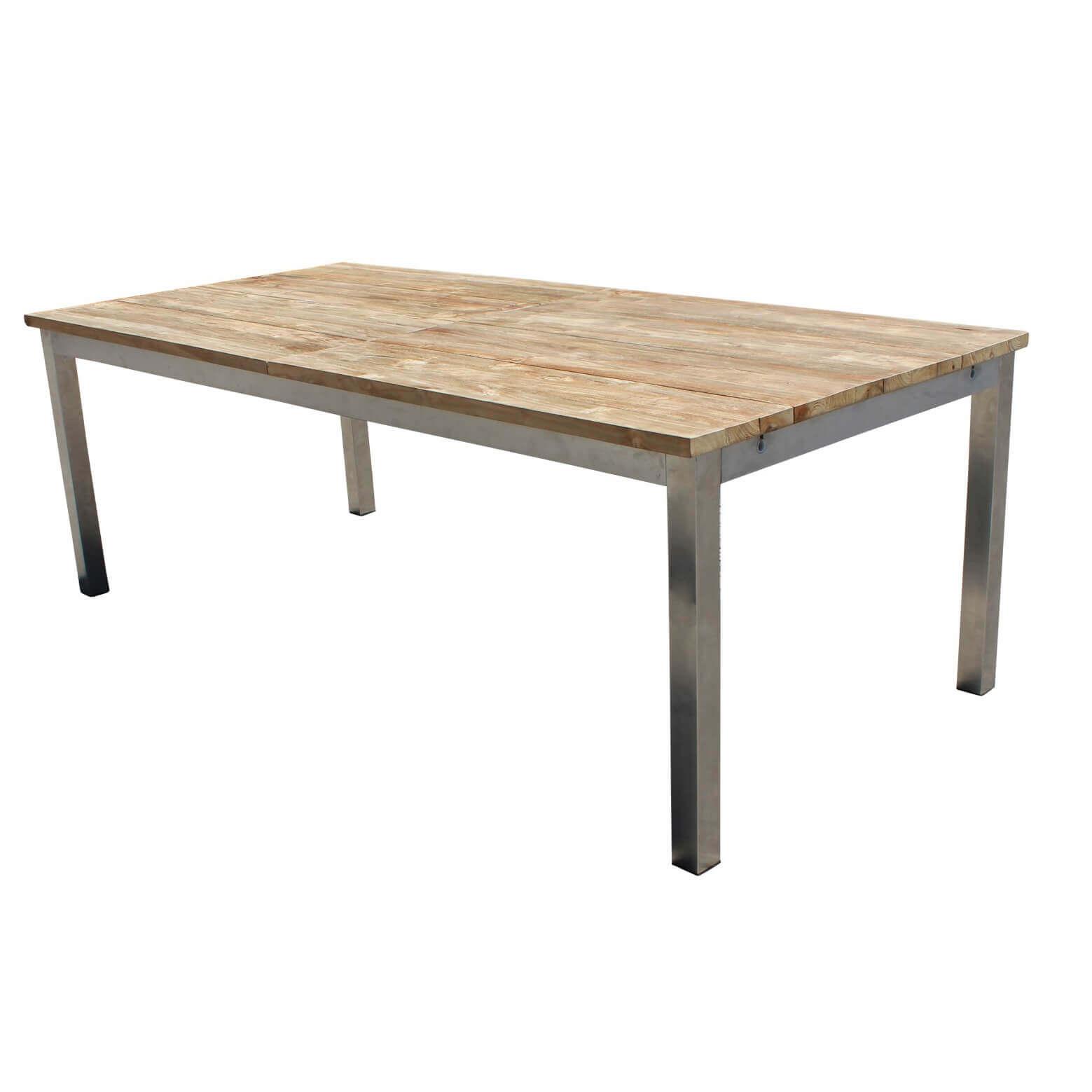 Milani Home JUPITER - tavolo da giardino allungabile in acciaio e teak 160/240 X 100