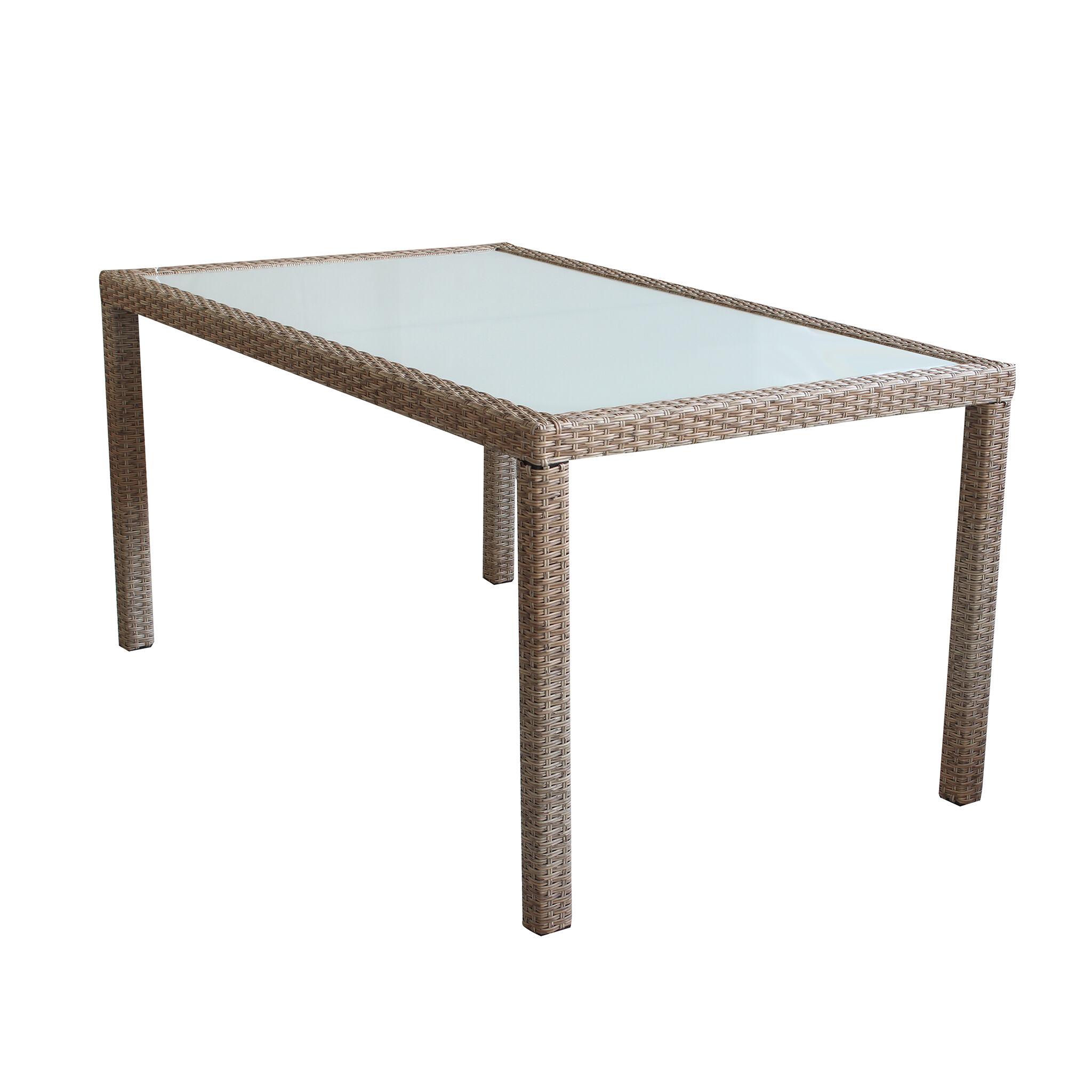 Milani Home AXONA - tavolo intreccio in rattan sintetico e vetro 150 x 90