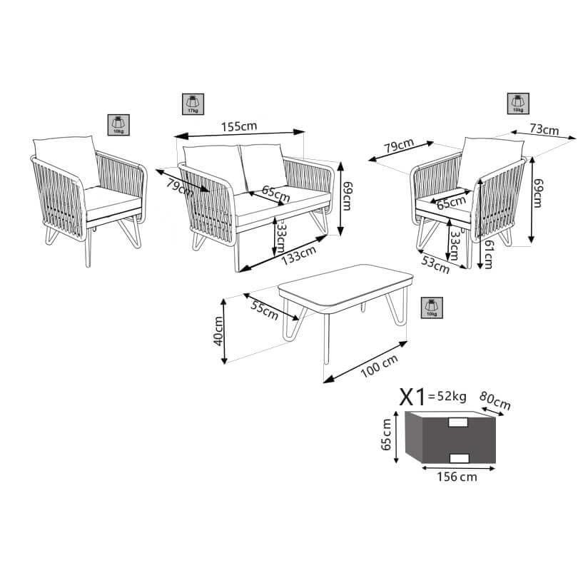 Milani Home ABLATUS - salotto da giardino completo di cuscini intreccio in rattan sintetico