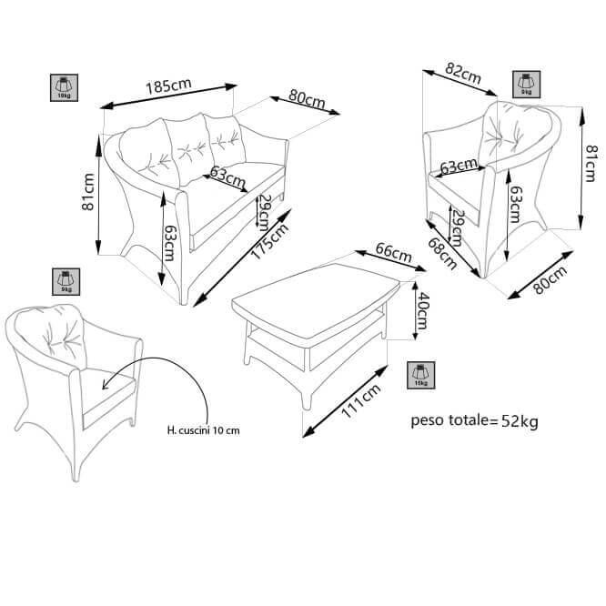 Milani Home FOLIUM - salotto da giardino completo di cuscini intreccio in rattan sintetico