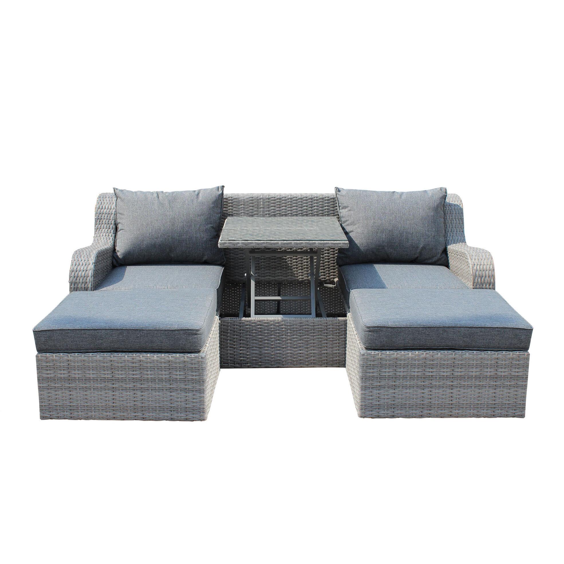 Milani Home GRANDIS - divano da giardino con 2 pouf completo di cuscino intreccio in rattan sintetico