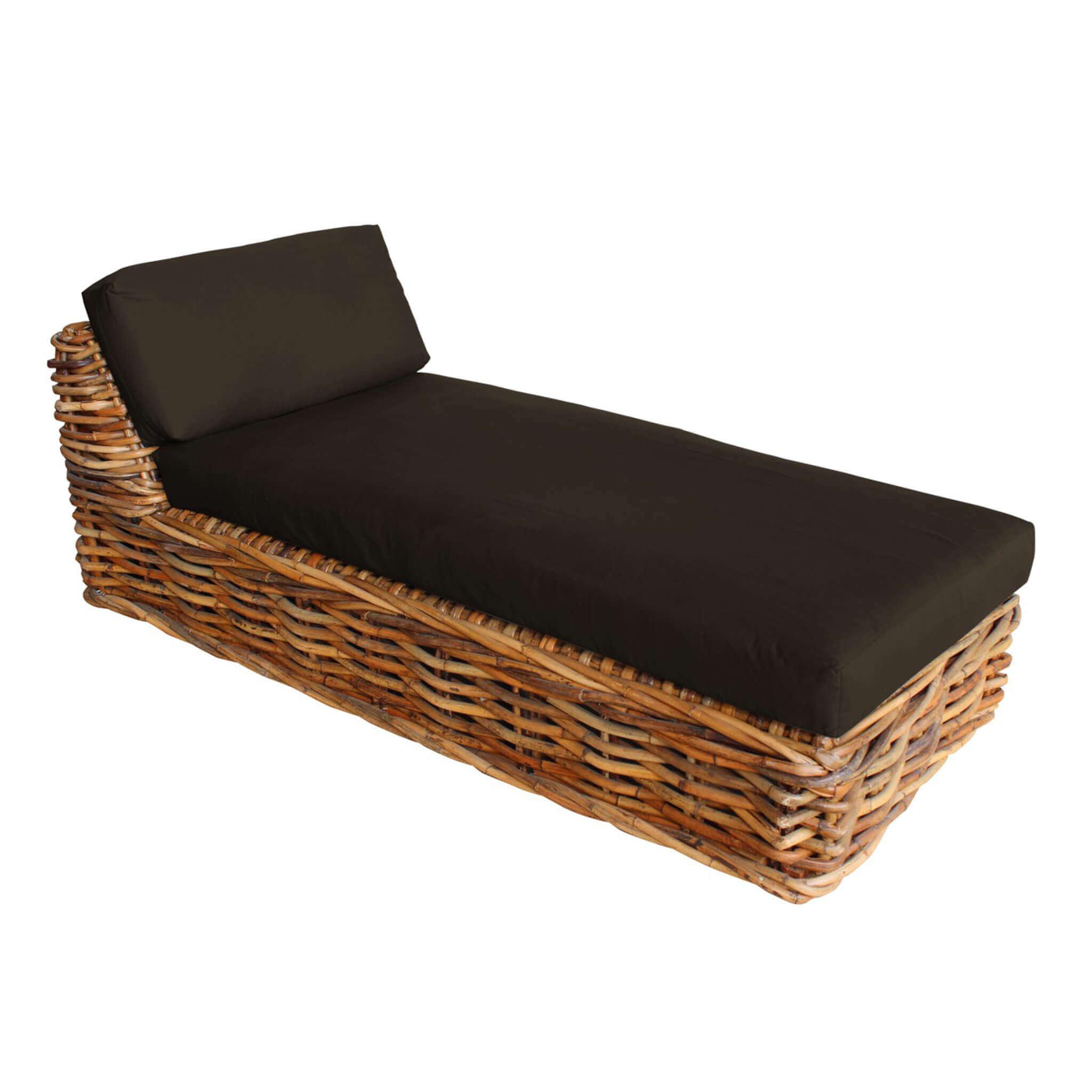 Milani Home ROSEUS - chaise longue da giardino componibile completo di cuscino intreccio in rattan naturale