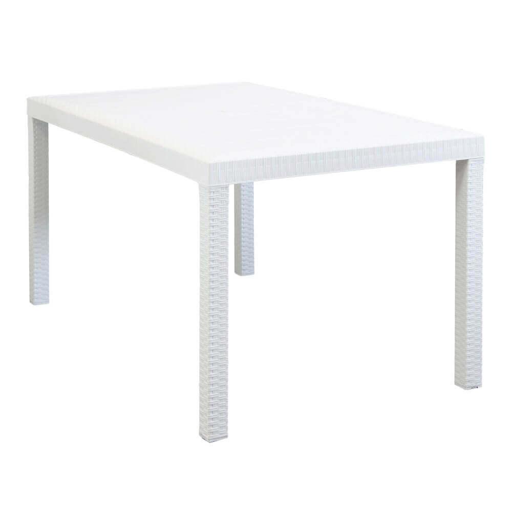 Milani Home CALIGOLA - tavolo da giardino rettangolare fisso in wicker stampato bianco cm 150 x 90 da esterno giardino terrazzo portico locale bar
