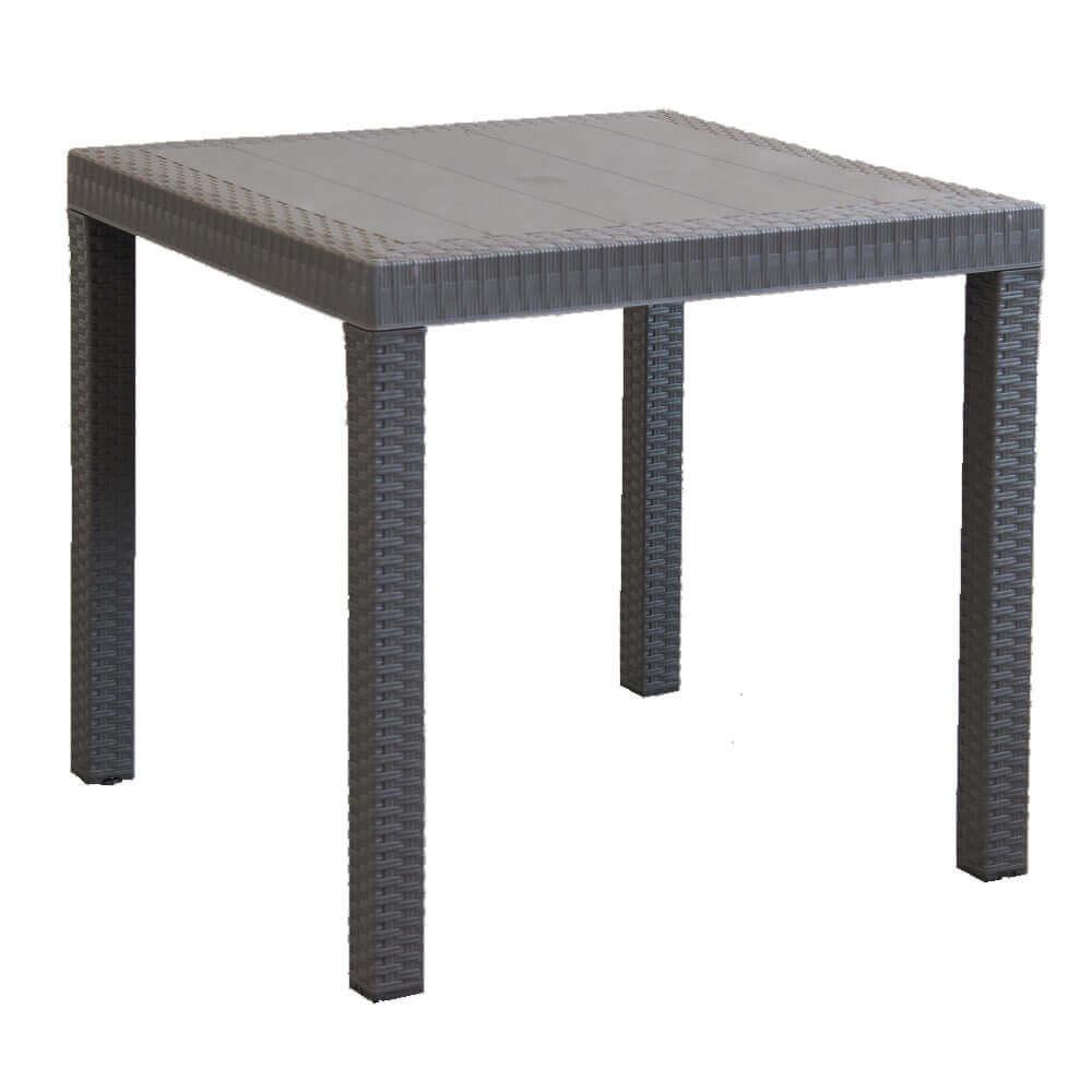 Milani Home CALIGOLA - tavolo da giardino quadrato fisso in wicker stampato taupe cm 80 x 80 da esterno giardino terrazzo portico locale bar
