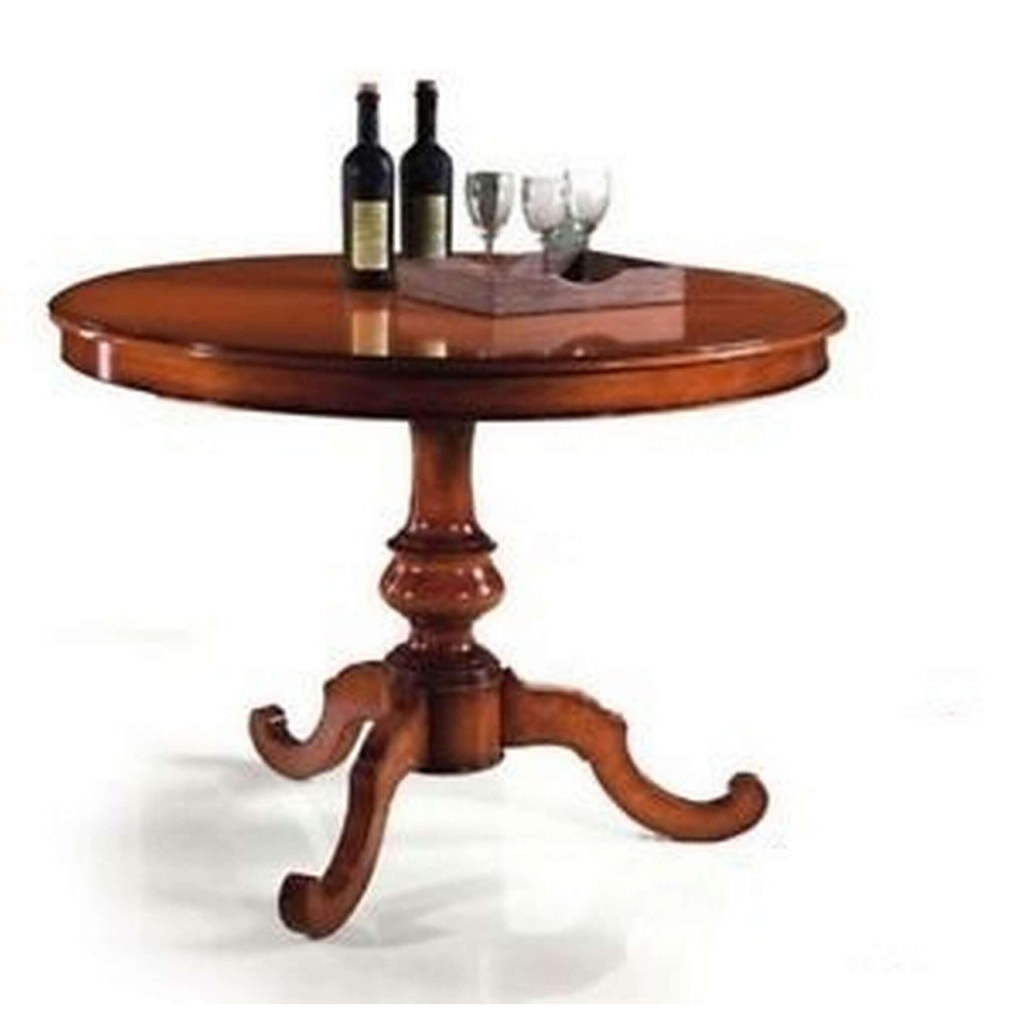 Milani Home BARRY - tavolo da pranzo allungabile in legno massello tondo 120/160