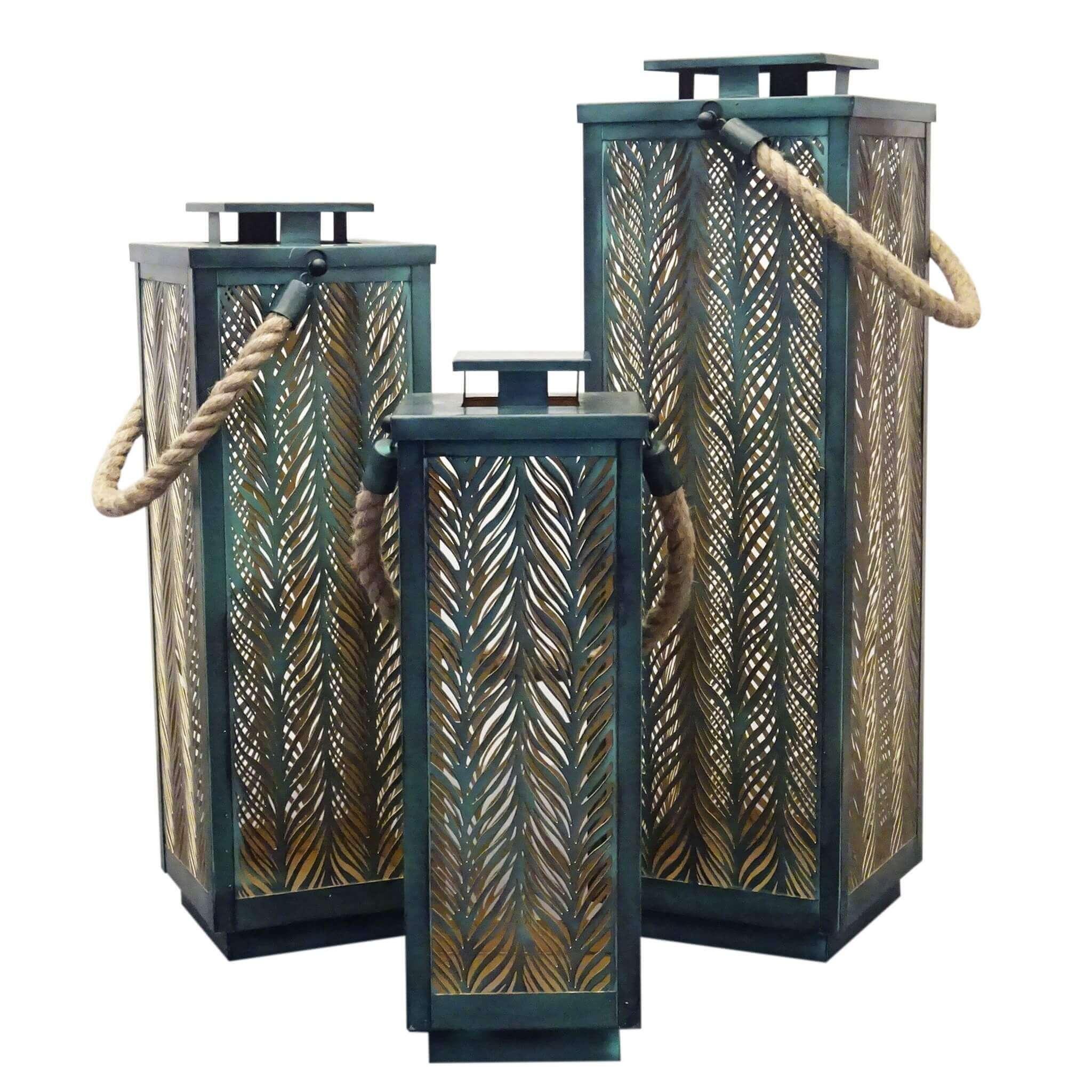 milani home mizuki - set di 3 lanterne in metallo