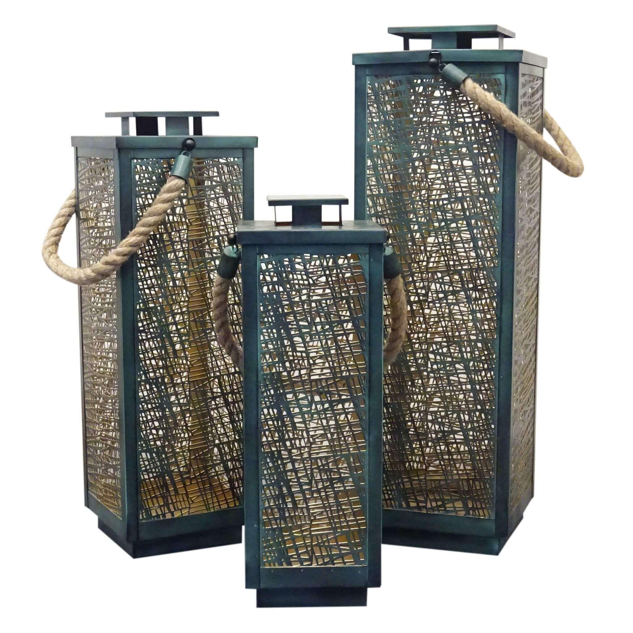 Milani Home MIDORI - set di 3 lanterne in metallo