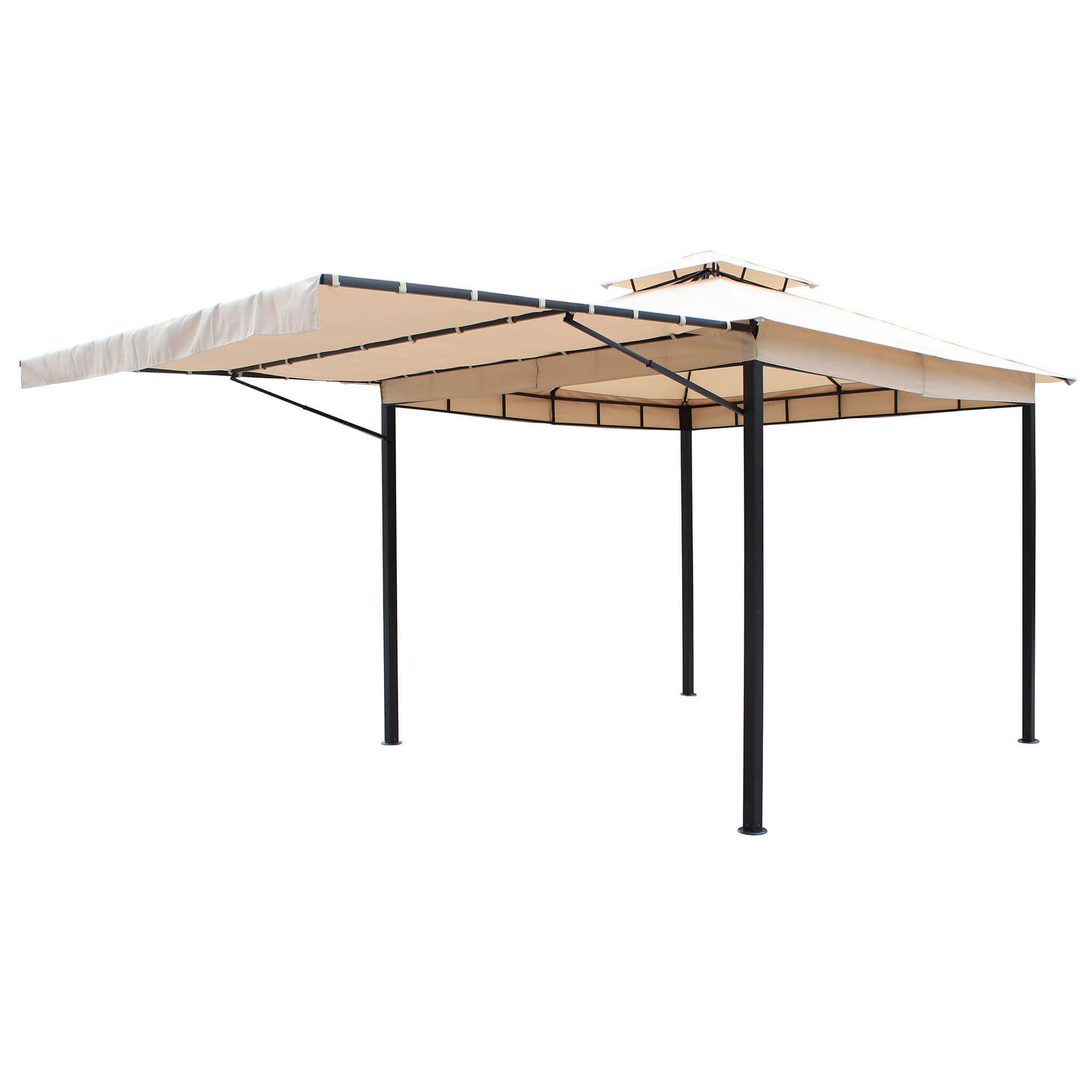 Milani Home OPERIBUS - gazebo da giardino 3 x 3 in metallo completo  di tettoia apribile e doppio tetto