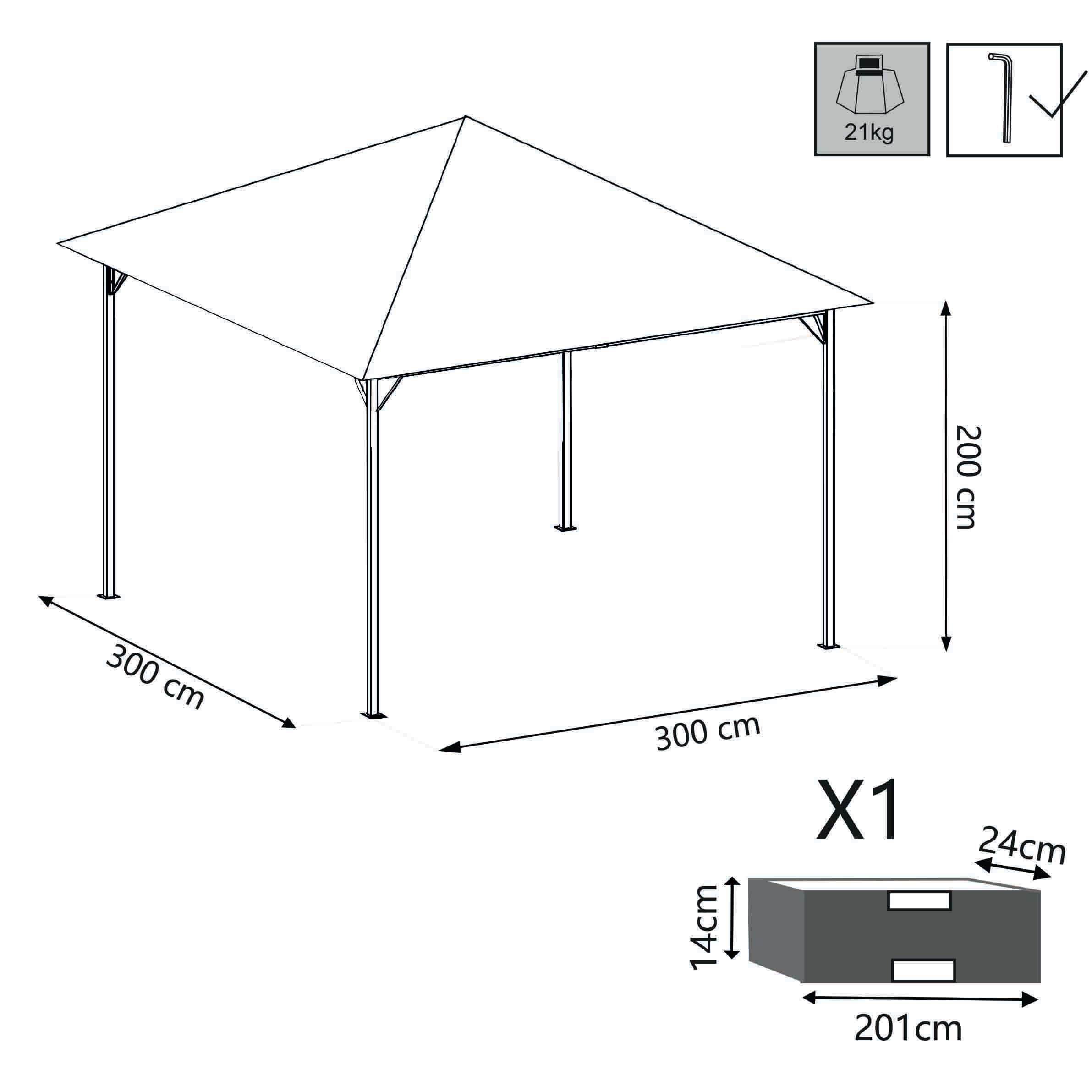 Milani Home GREX - gazebo da giardino 3 x 3 in metallo