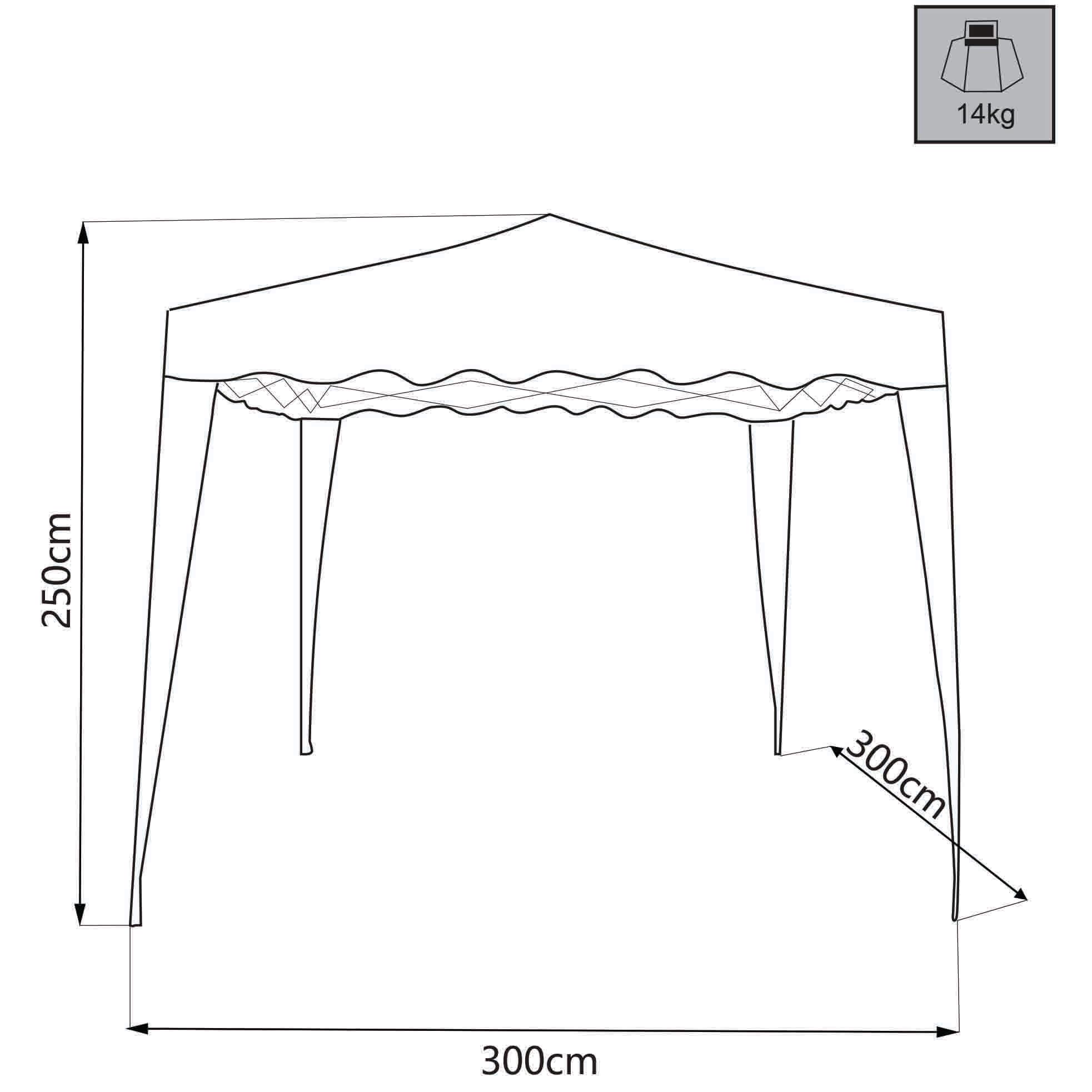 Milani Home HEBES - gazebo pieghevole e richiudibile completo  di sacca protettiva 3 x 3 in metallo