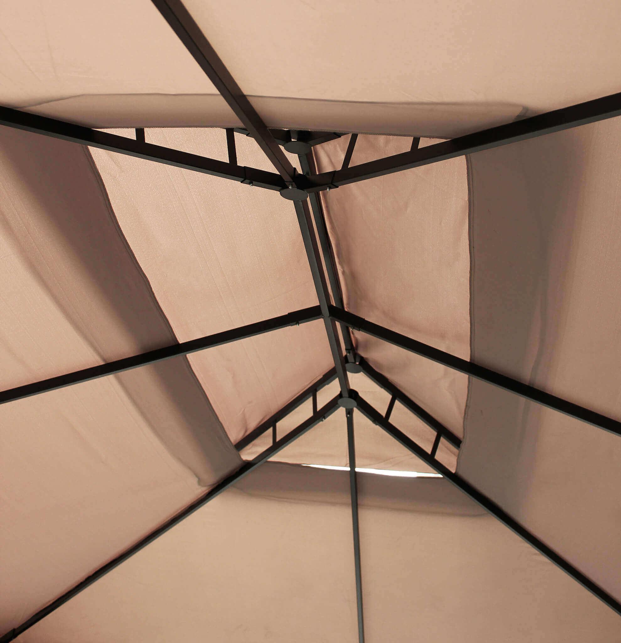 Milani Home AULUS - gazebo da giardino 3 x 4 in alluminio completo  di tettoia apribile e doppio tetto