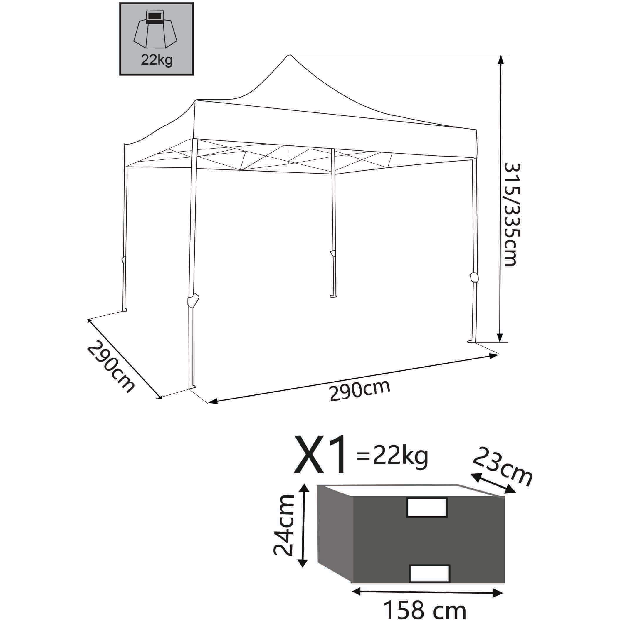 Milani Home DIADEMA - gazebo pieghevole e richiudibile completo  di sacca protettiva 3 x 3 in metallo