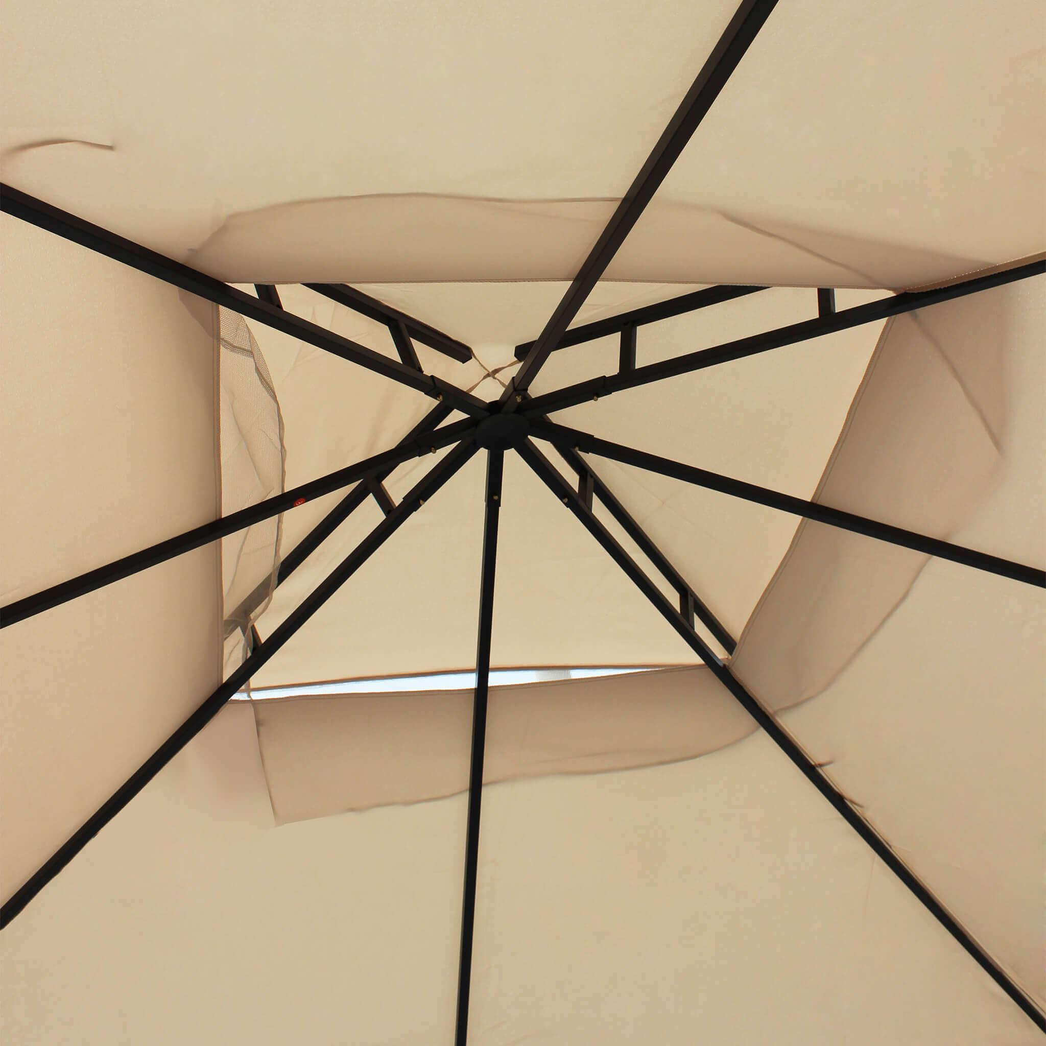 Milani Home EFFIGIES - gazebo da giardino 3 x 3 in metallo completo  di pareti e zanzariere laterali