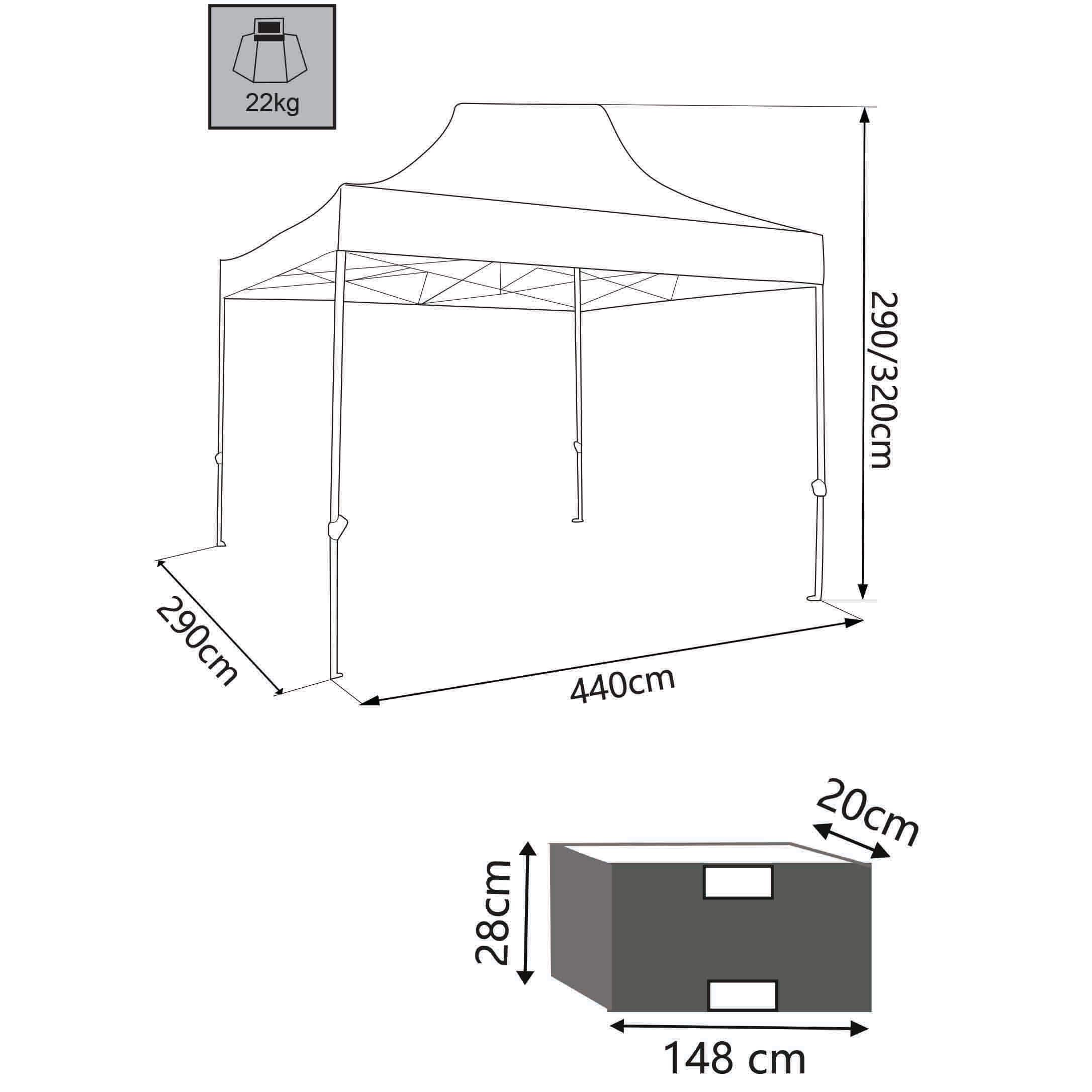 Milani Home IRIS - gazebo pieghevole e richiudibile completo  di sacca protettiva 3 x 4,5 in metallo