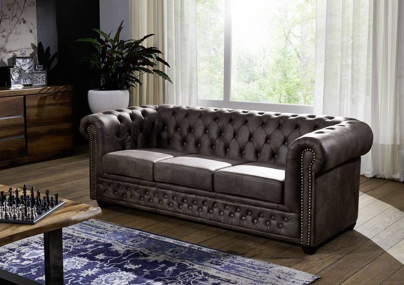 Divano Chesterfield - marrone scuro 203x86x72 OXFORD