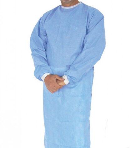 ttmed camice azzurro in tnt 35gr, non sterile, polsini in cotone mis. varie