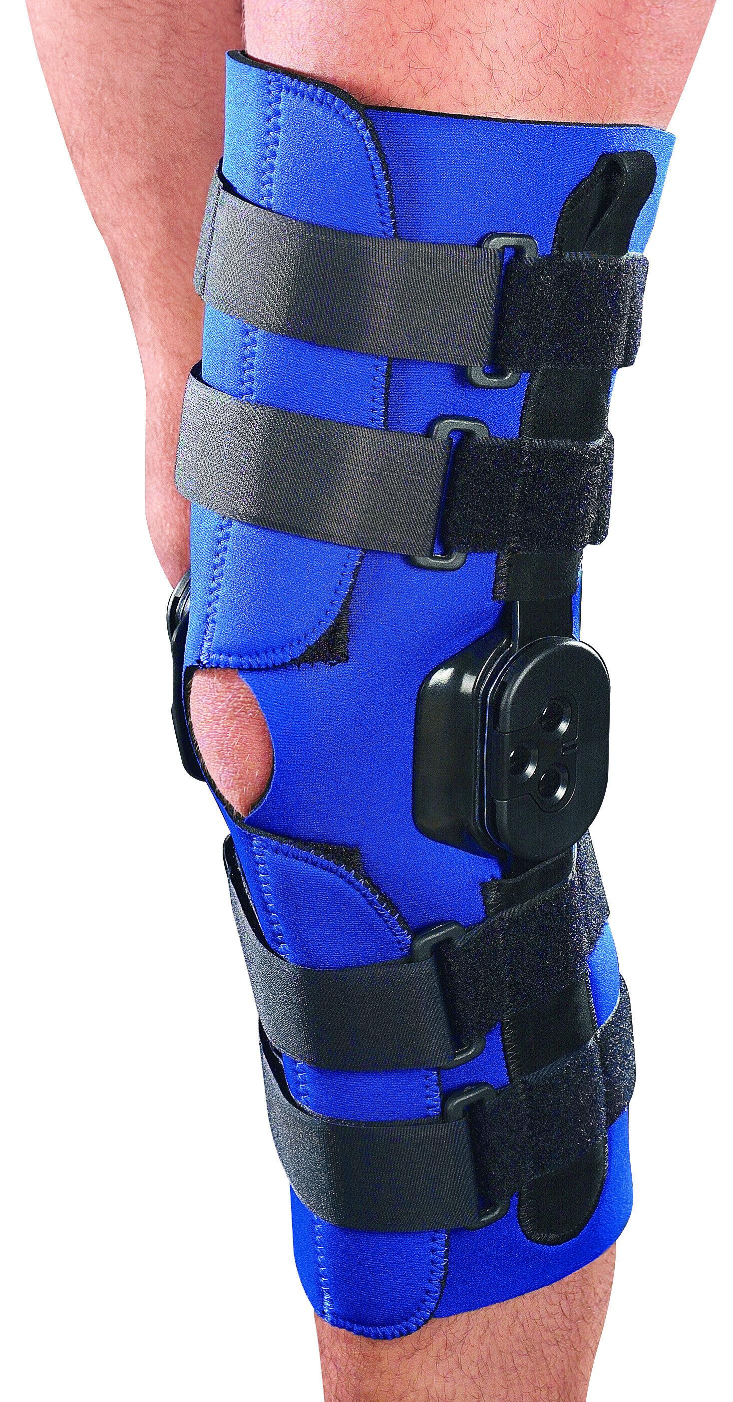 ro+ten ginocchiera in neoprene ortopedica activum modello tubolare con aste articolate a controllo f-e lunga misure varie