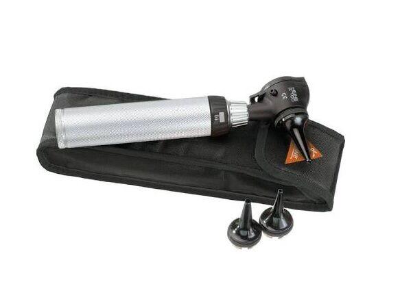 heine set otoscopio ® k100 2.5 v a luce alogena xhl 2.5 v con beta manico a batterie e astuccio