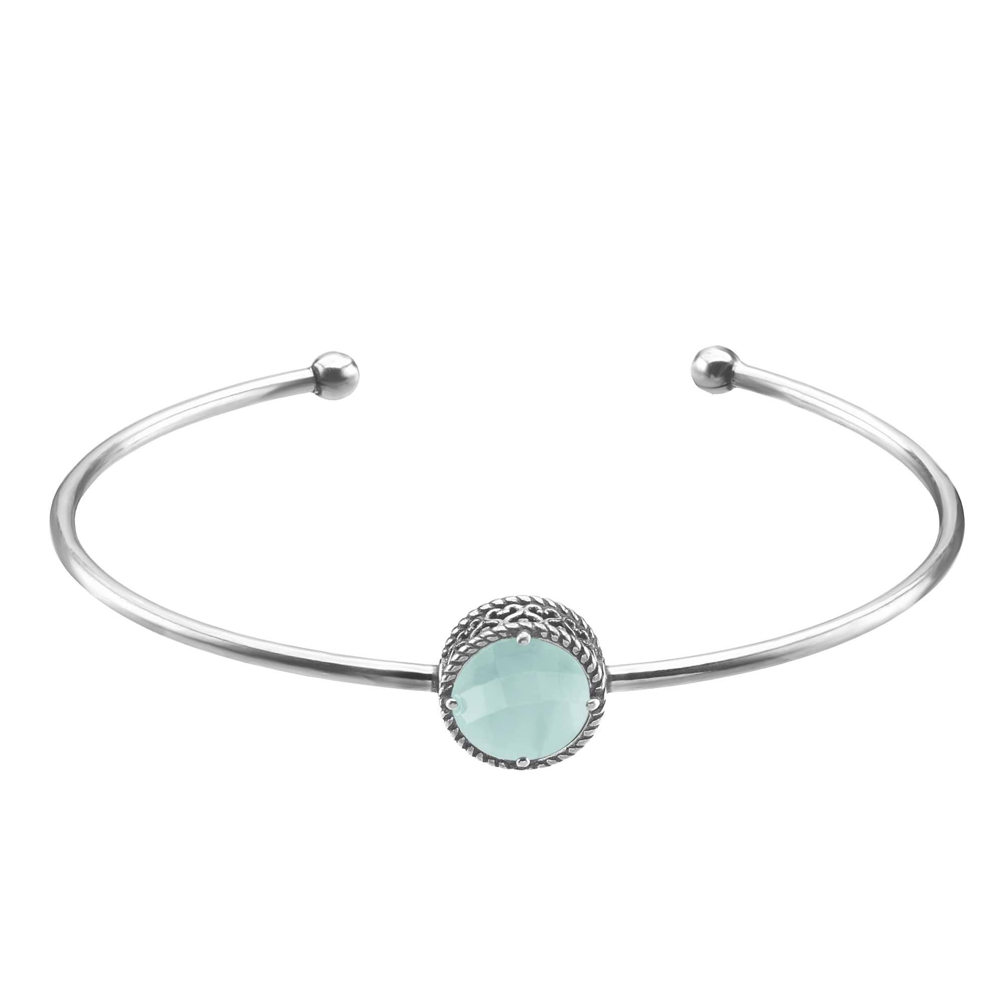 Stroili Bracciale bangle small in argento 925 rodiato e pietra colorata