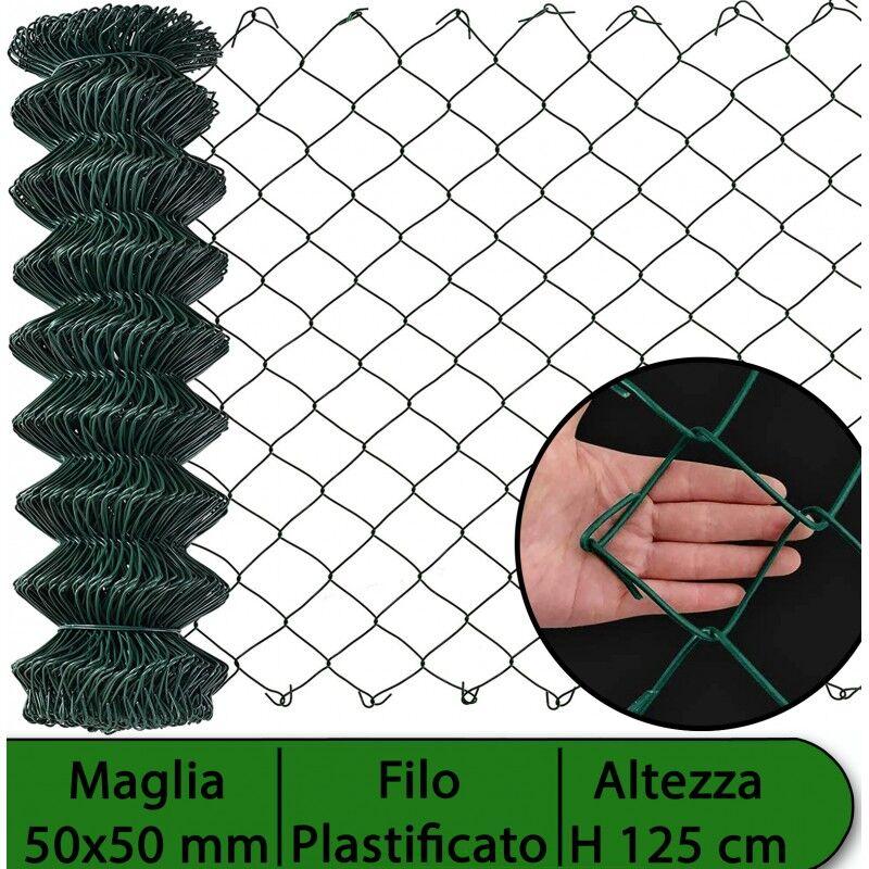 NextradeItalia Rete Per Recinzione Plastificata Altezza H 125 Cm Maglia Sciolta 50x50 Mm Filo Ø 2,3 Mm Lughezza Rotolo Da 25 Mt Per Recinzione Verde