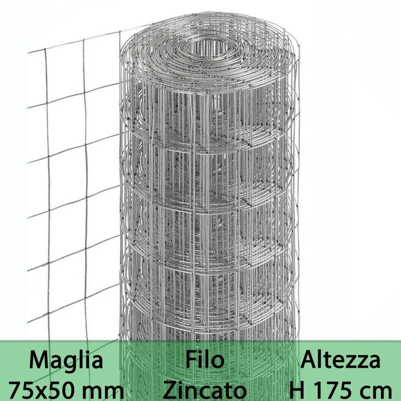 NextradeItalia Rete Per Recinzione Zincata Altezza H 175 Cm Maglia Elettrosaldata 75x50 Mm Filo Ø 1,7 Mm Lughezza Rotolo Da 25 Mt Per Recinzione Grigio