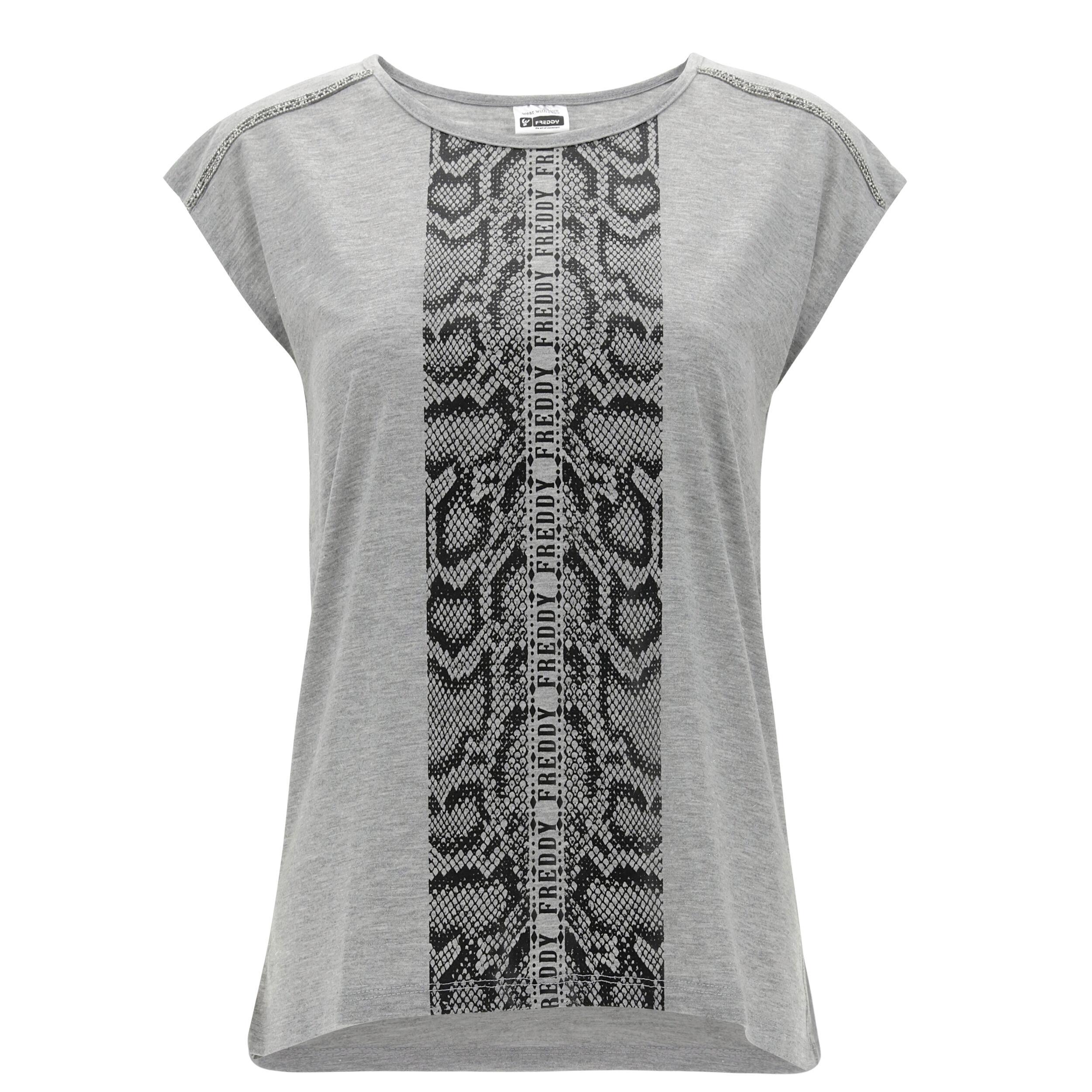 freddy t-shirt mélange con stampa reptile e nastri gioiello lurex melange gray