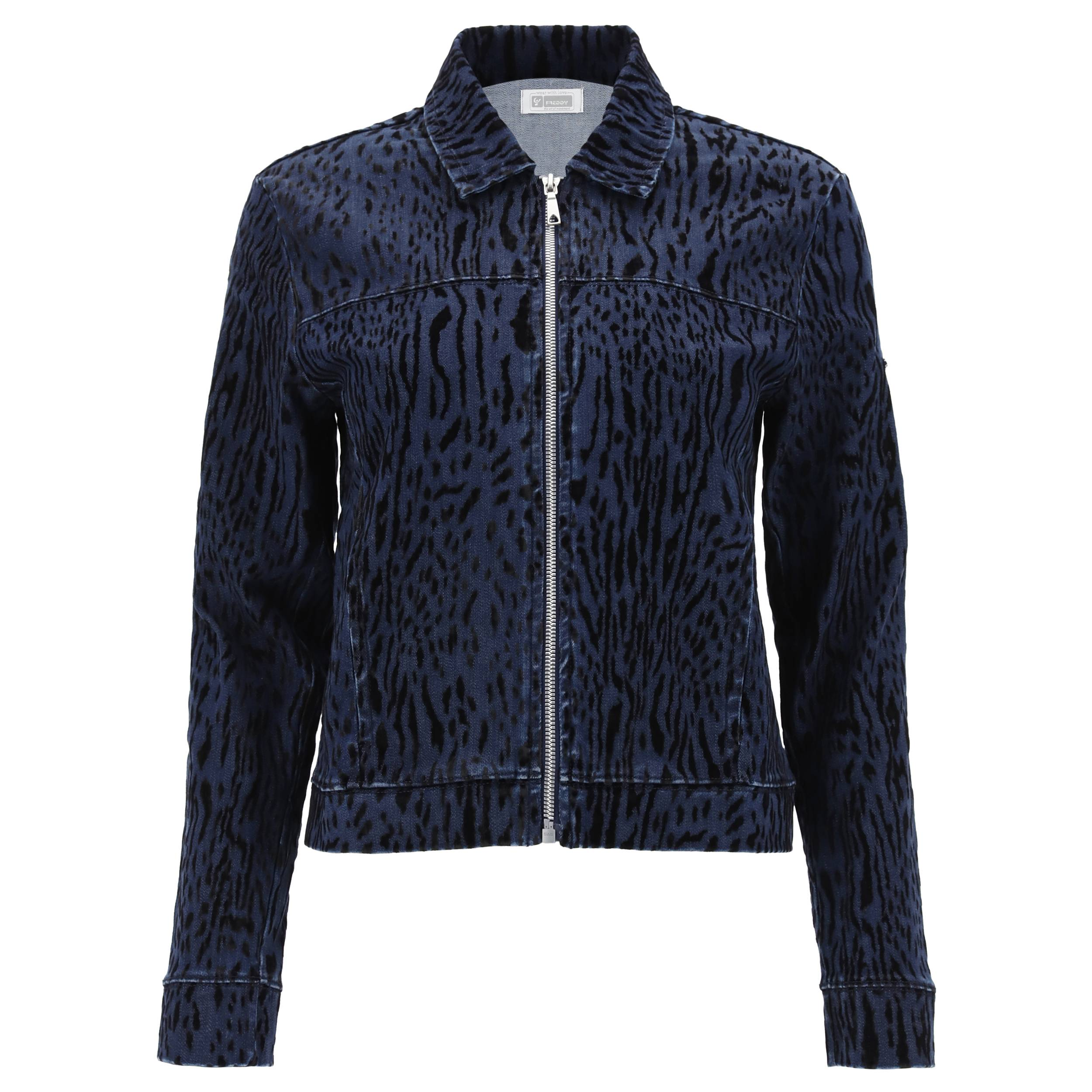 freddy giacca donna in denim animalier con zip jeans scuro-cuciture in tono