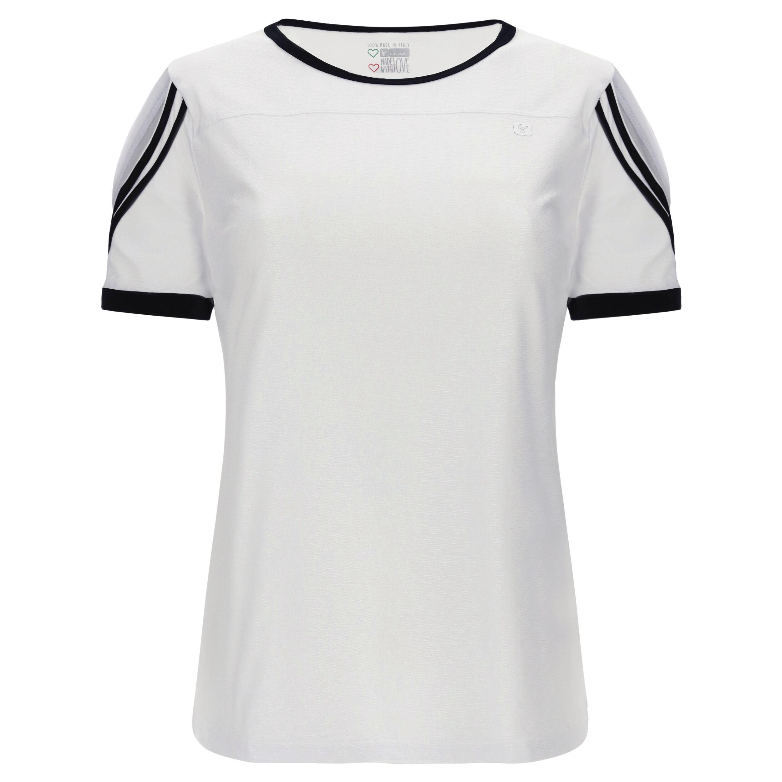 Freddy T-shirt jersey abbigliamento yoga donna -100% Made in Italy Bianco-Nero