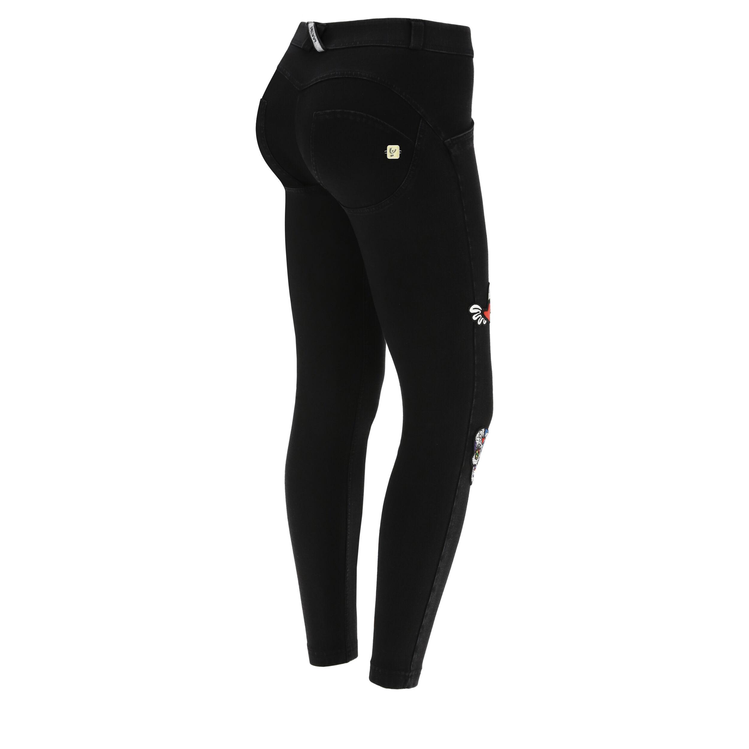 Freddy WR.UP® denim nero con decorazioni – Romero Britto Collection Jeans Nero-Cuciture In Tono