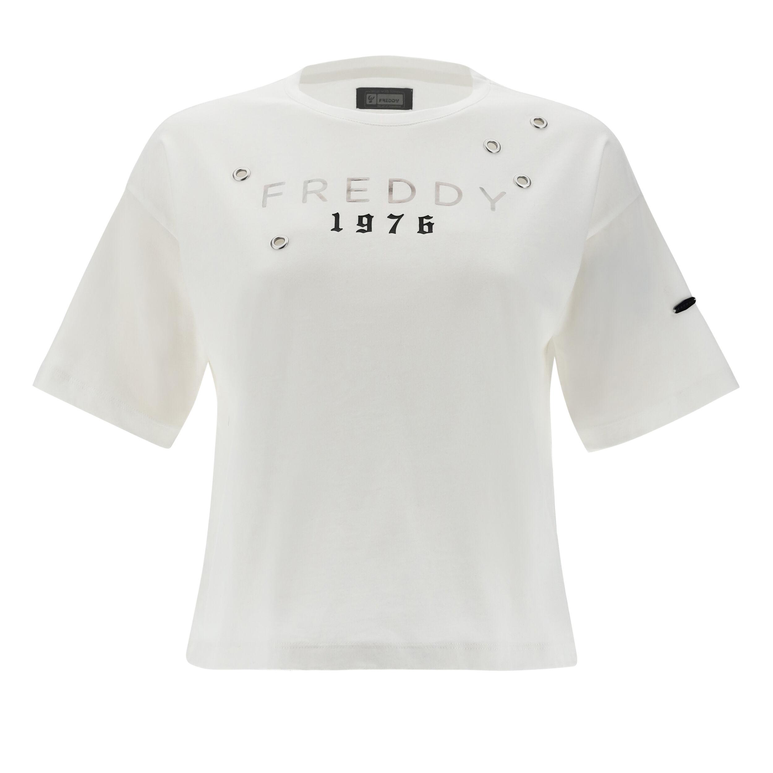 Freddy T-shirt comfort con stampa 1976 e anelli in metallo Bianco