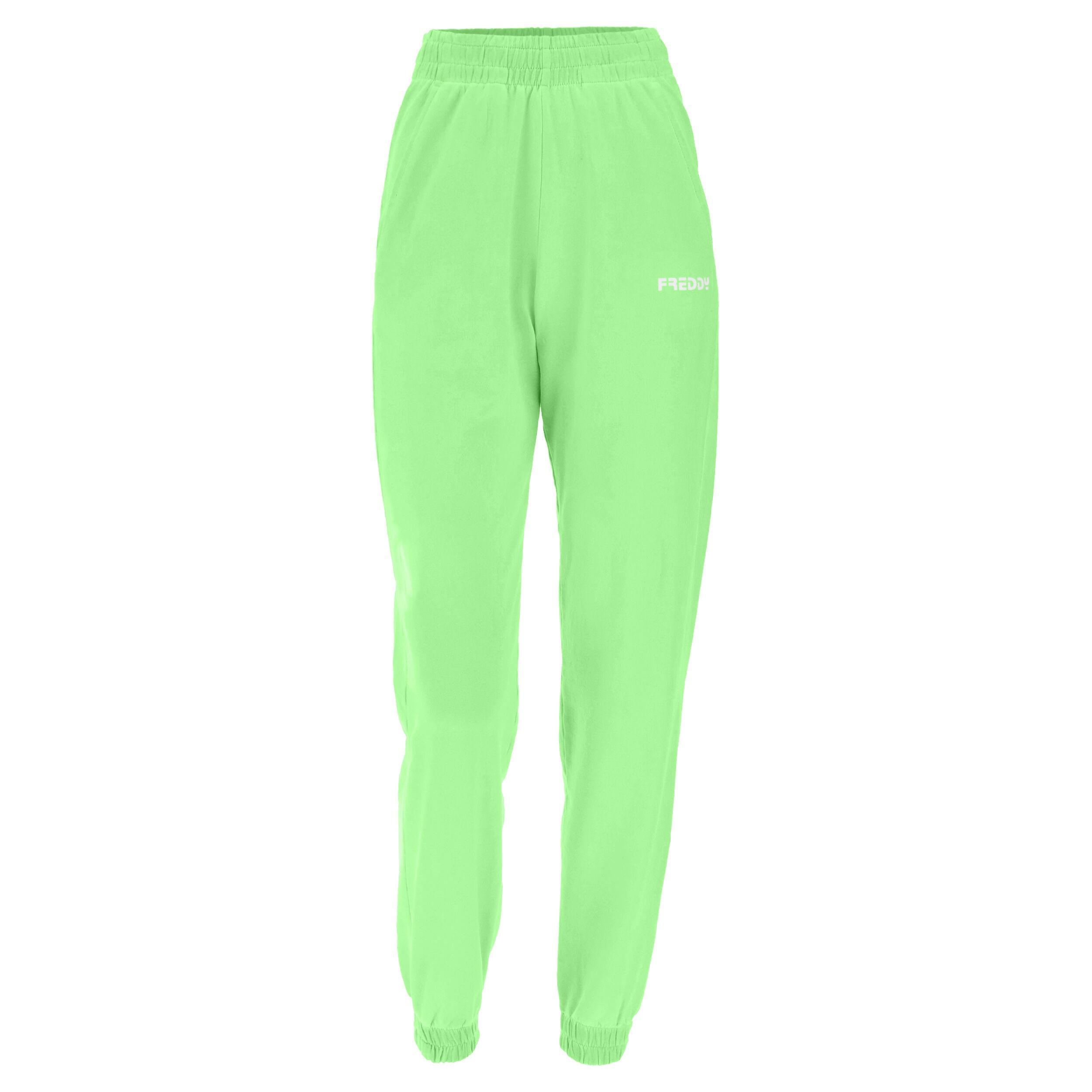 Freddy Pantaloni sportivi con elastico in colore fluo Fluo Green Pigment Dyed