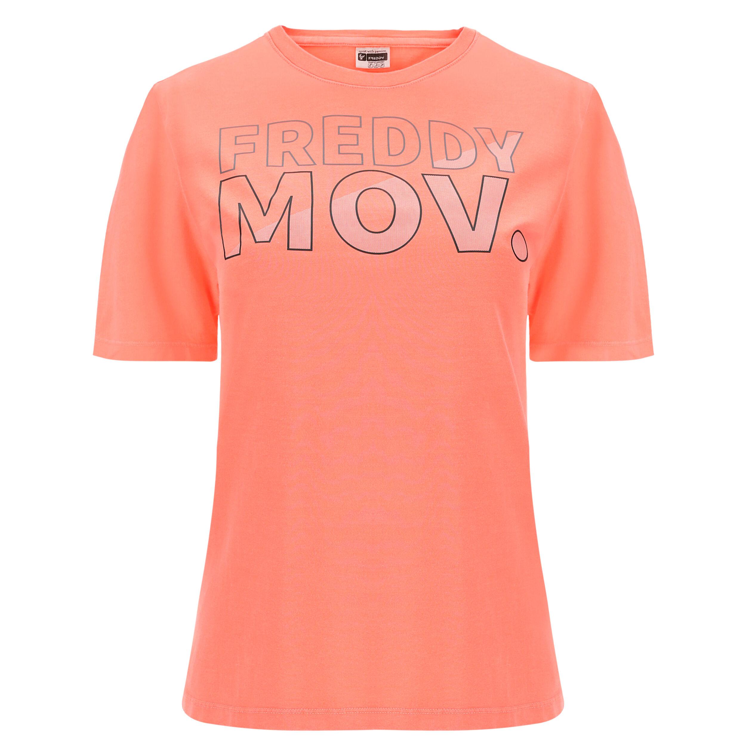 Freddy T-shirt con maniche a kimono e stampa MOV. Rosa Fluo Pigment Dyed