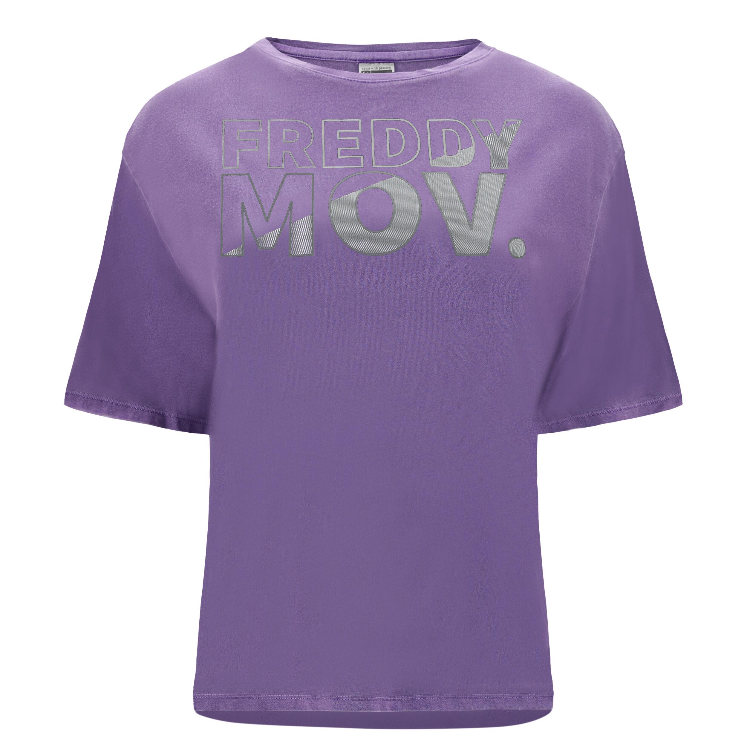 Freddy T-shirt con maniche a kimono e stampa MOV. Viola Brillante Pigment Dyed