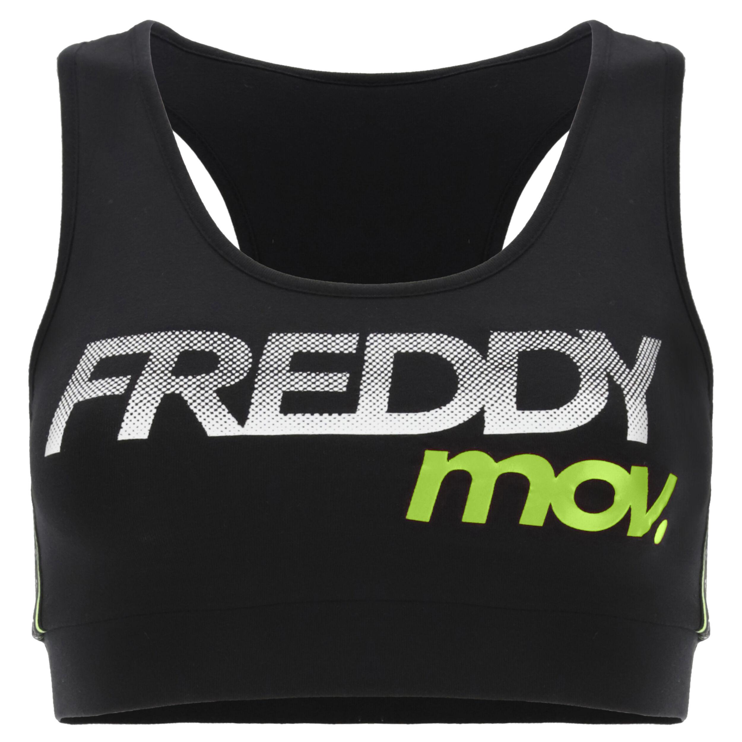 Freddy Reggiseno sportivo MOV. sostegno medio Black-Fluo Yellow
