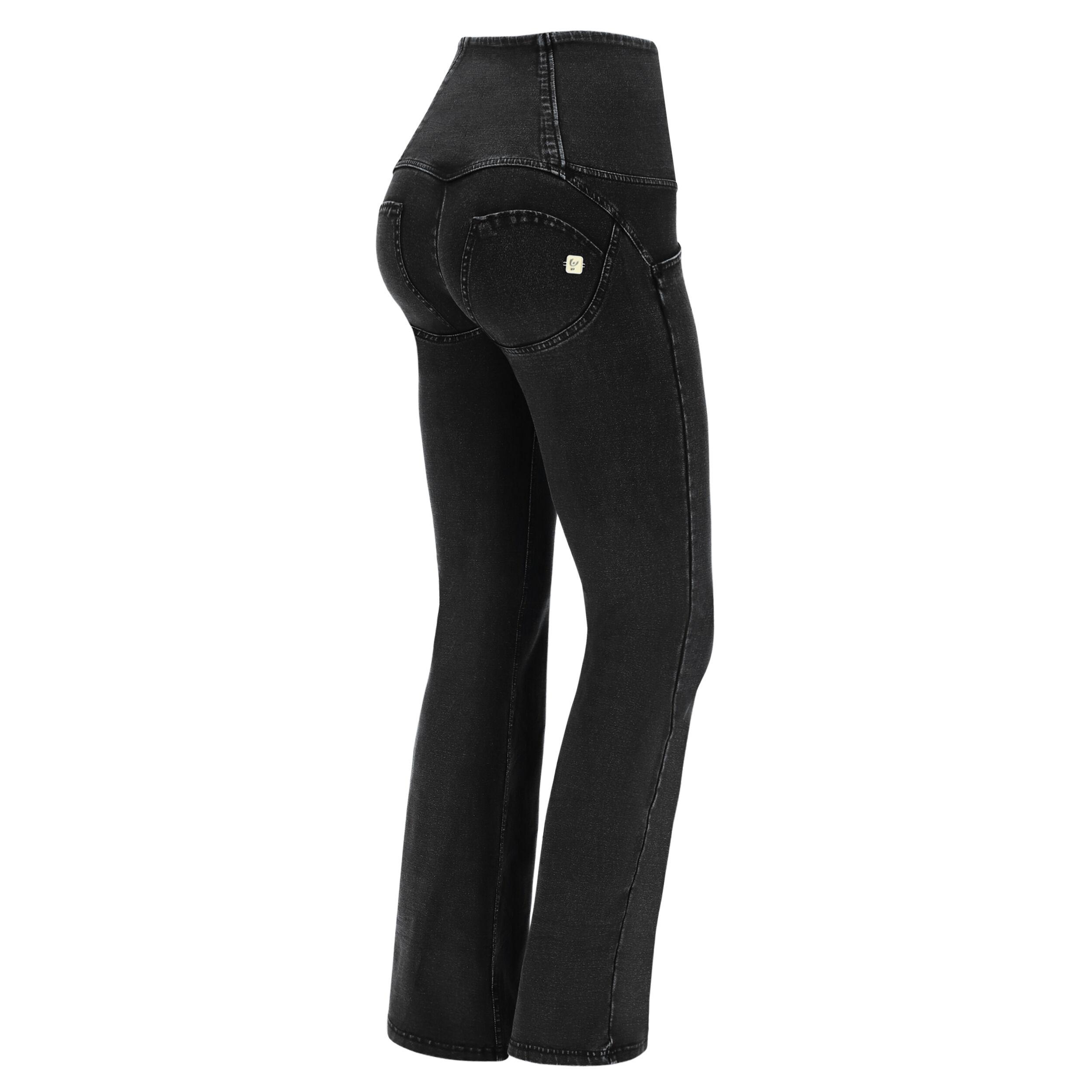 Freddy Jeggings WR.UP® effetto denim vita alta a zampa Jeans Nero-Cuciture In Tono