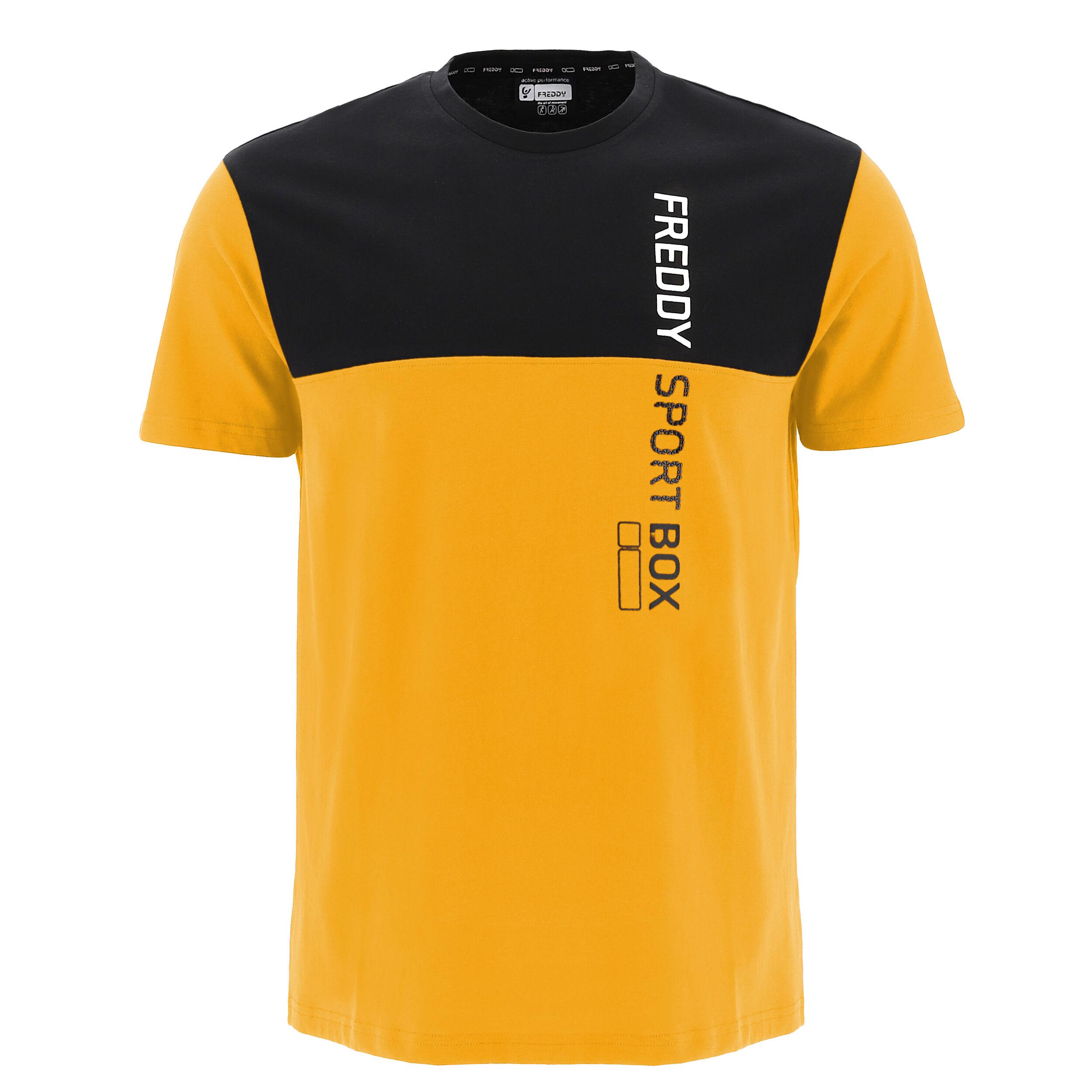 freddy t-shirt bicolore con stampa verticale  sport box giallo-grigio melange