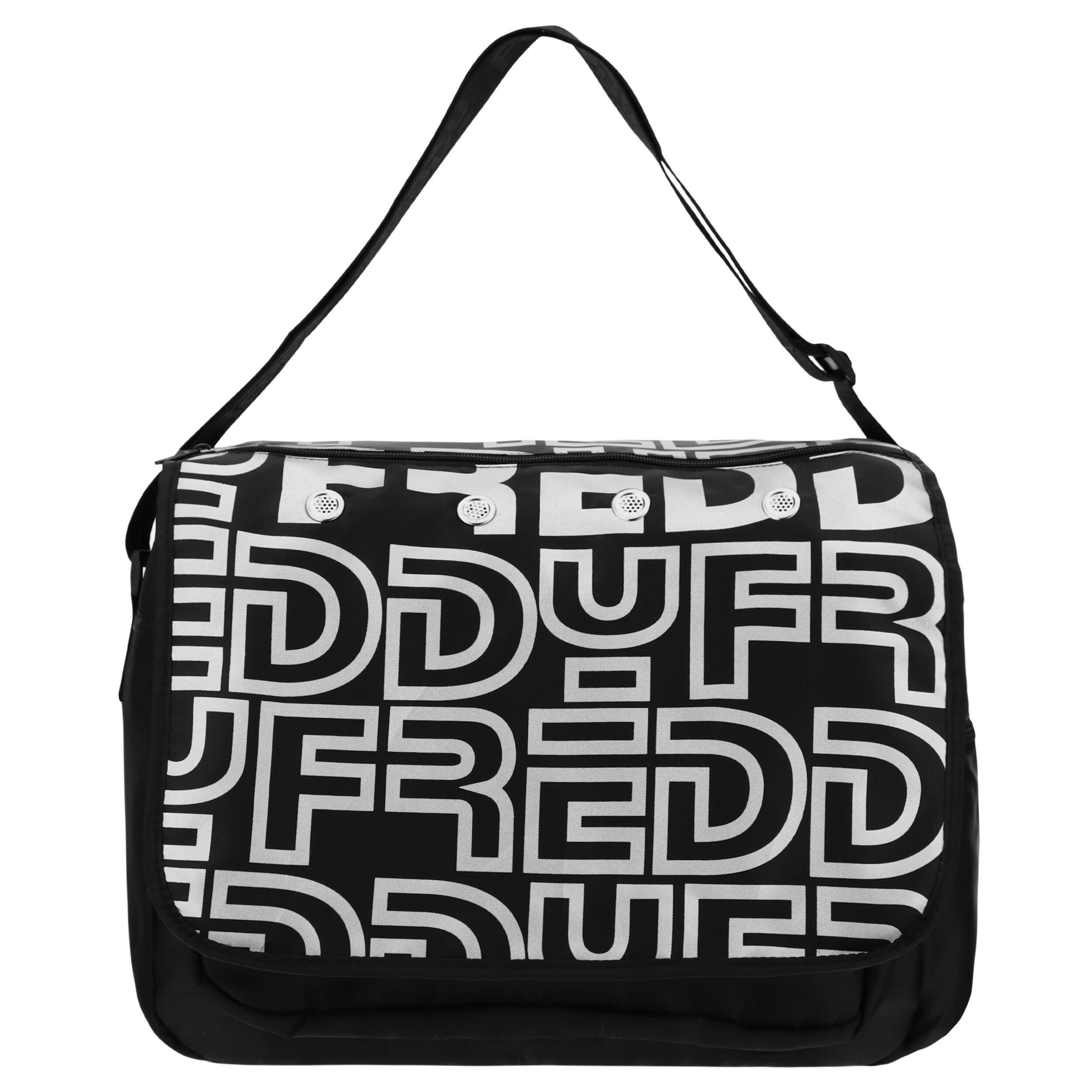 Freddy Borsa Messenger Bag in nylon con stampa reflex Nero-Silver