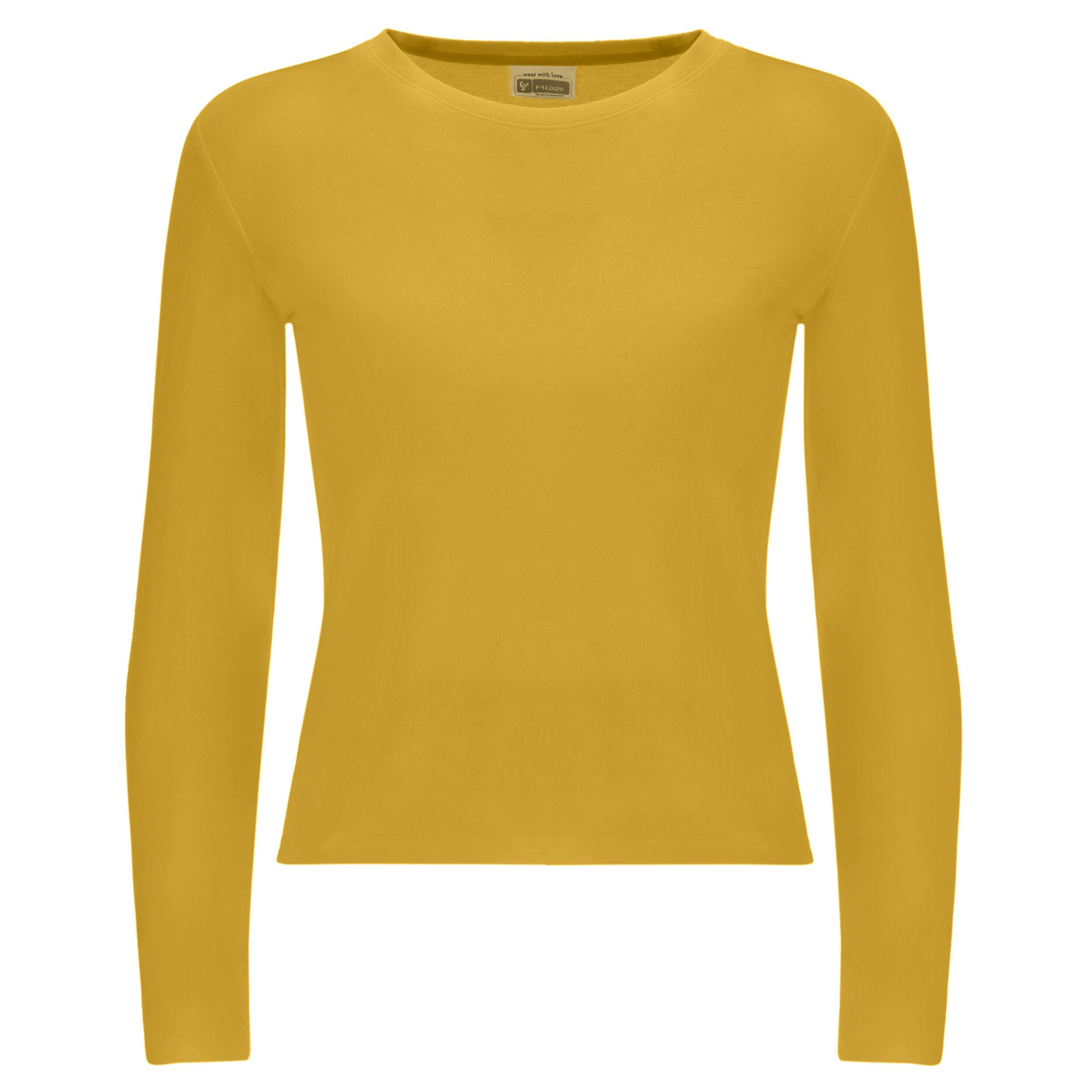 Freddy T-shirt bambina a manica lunga con stampa sulla manica Oil Yellow