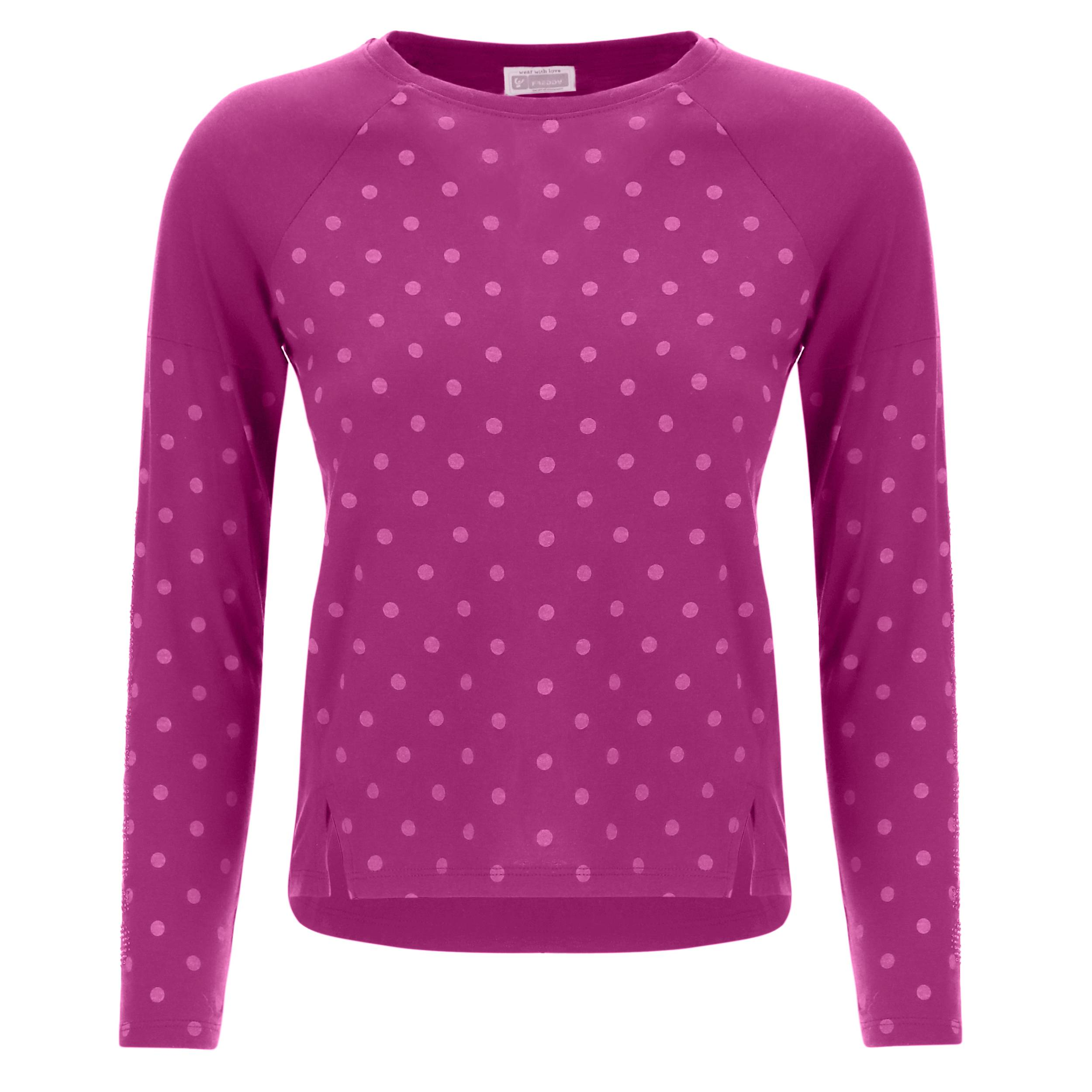 Freddy T-shirt bambina a manica lunga con stampa a pois Purple Wine Pois