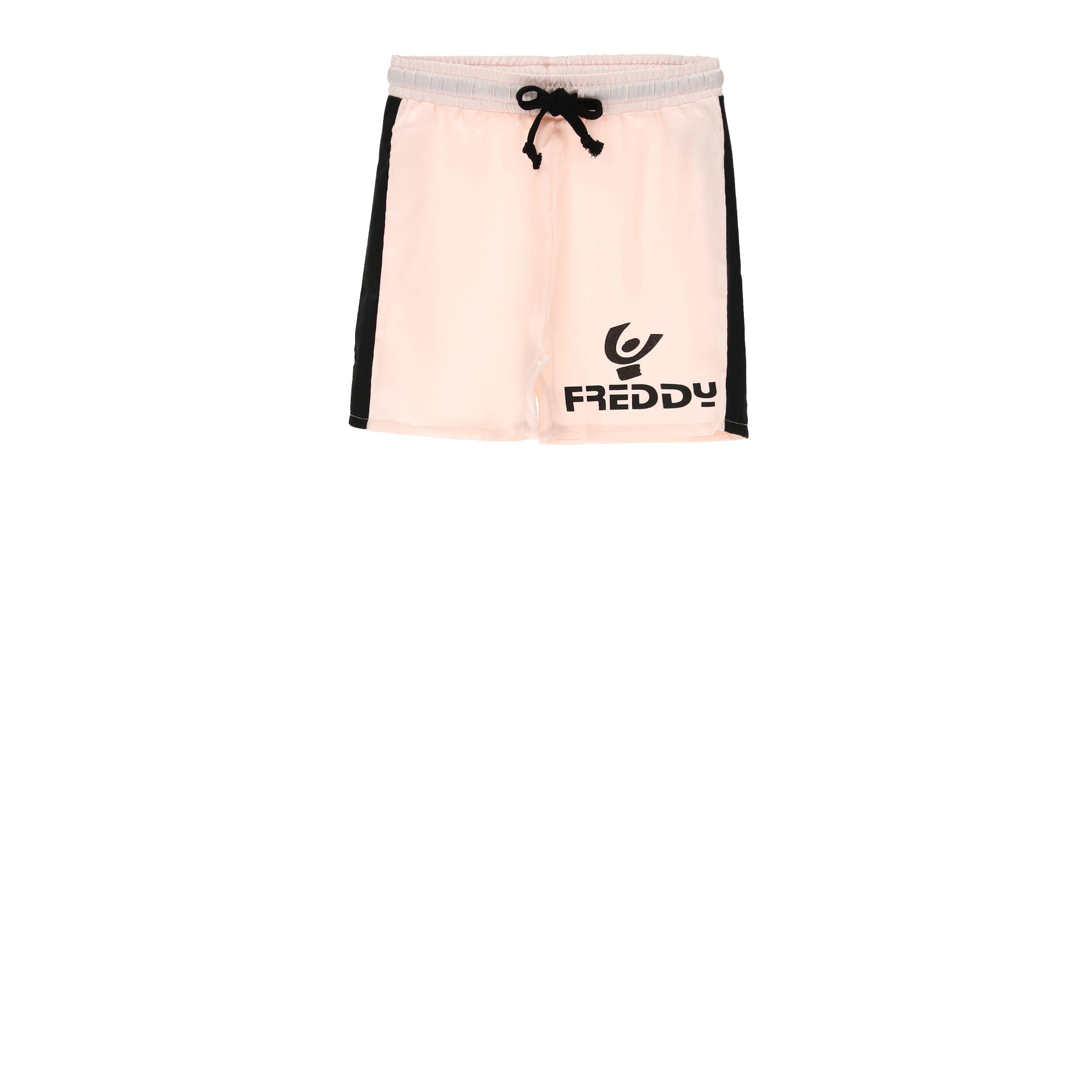 Freddy Shorts rosa con bande laterali e logo nero - Bambina 6-8 anni Pink
