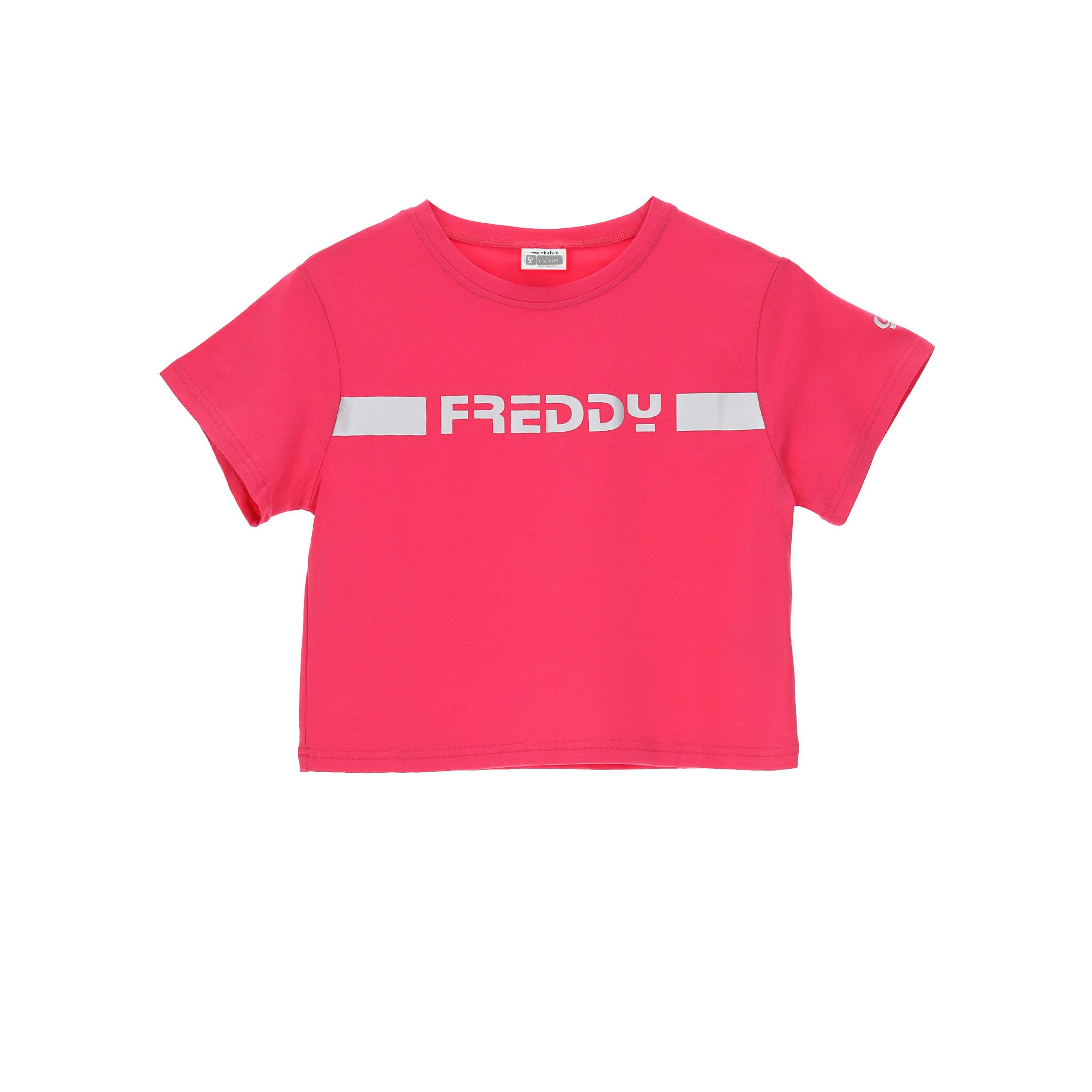 Freddy T-shirt cropped con stampa reflex - Ragazza 10-16 Fuxia