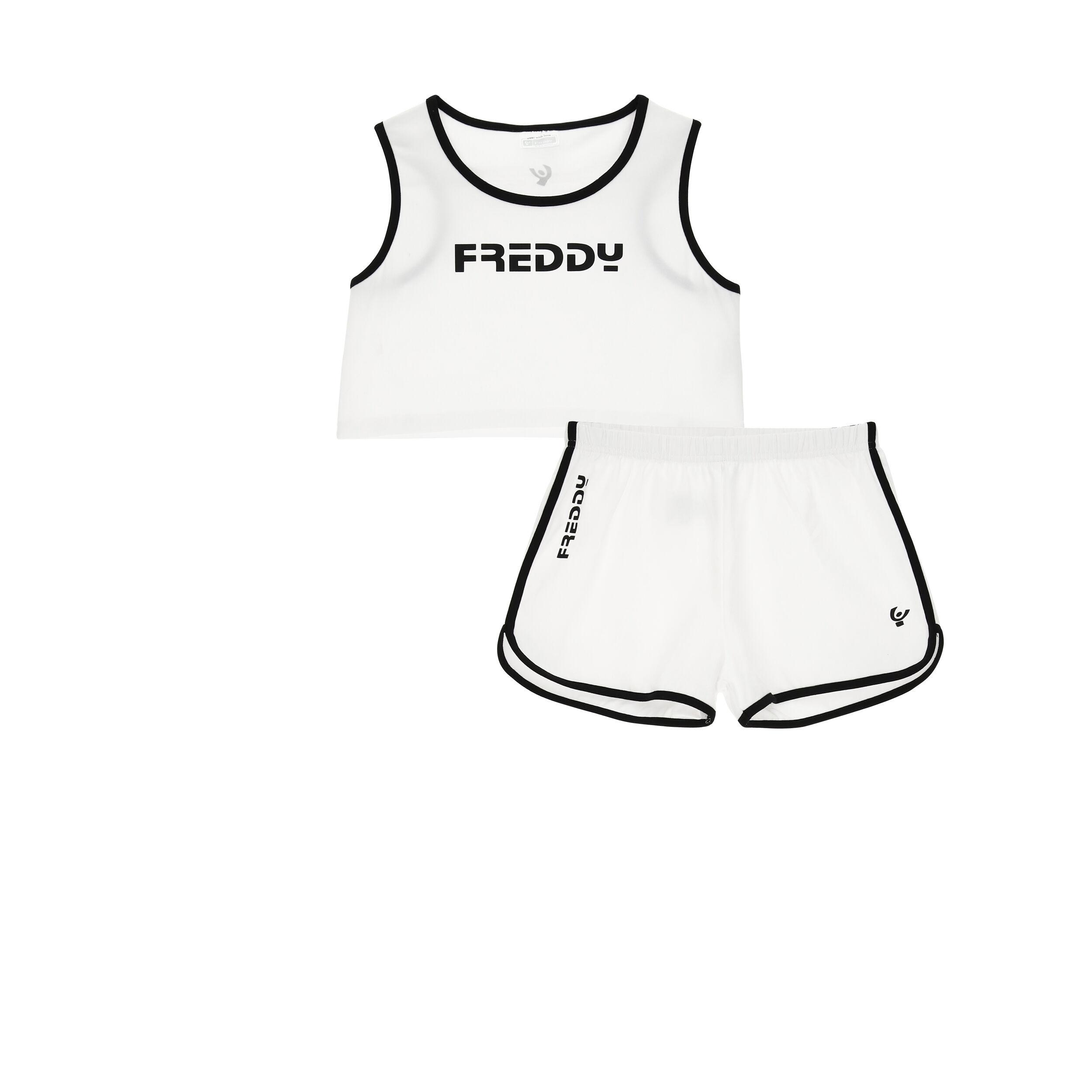 Freddy Completo canotta cropped e shorts – Bambina 6-8 anni Bianco