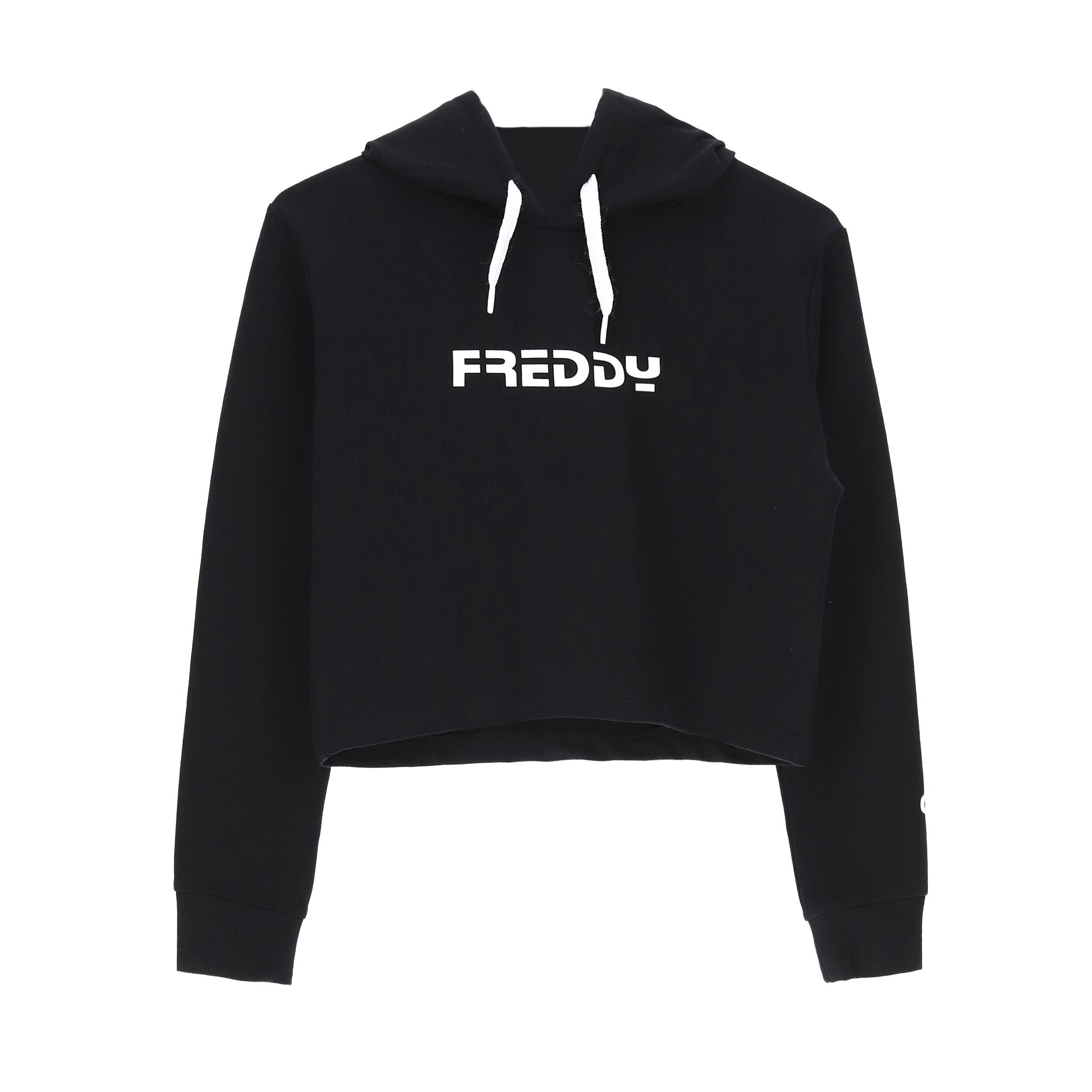 Freddy Maglia cropped con cappuccio e manica lunga - Bambina 6-8 anni Black