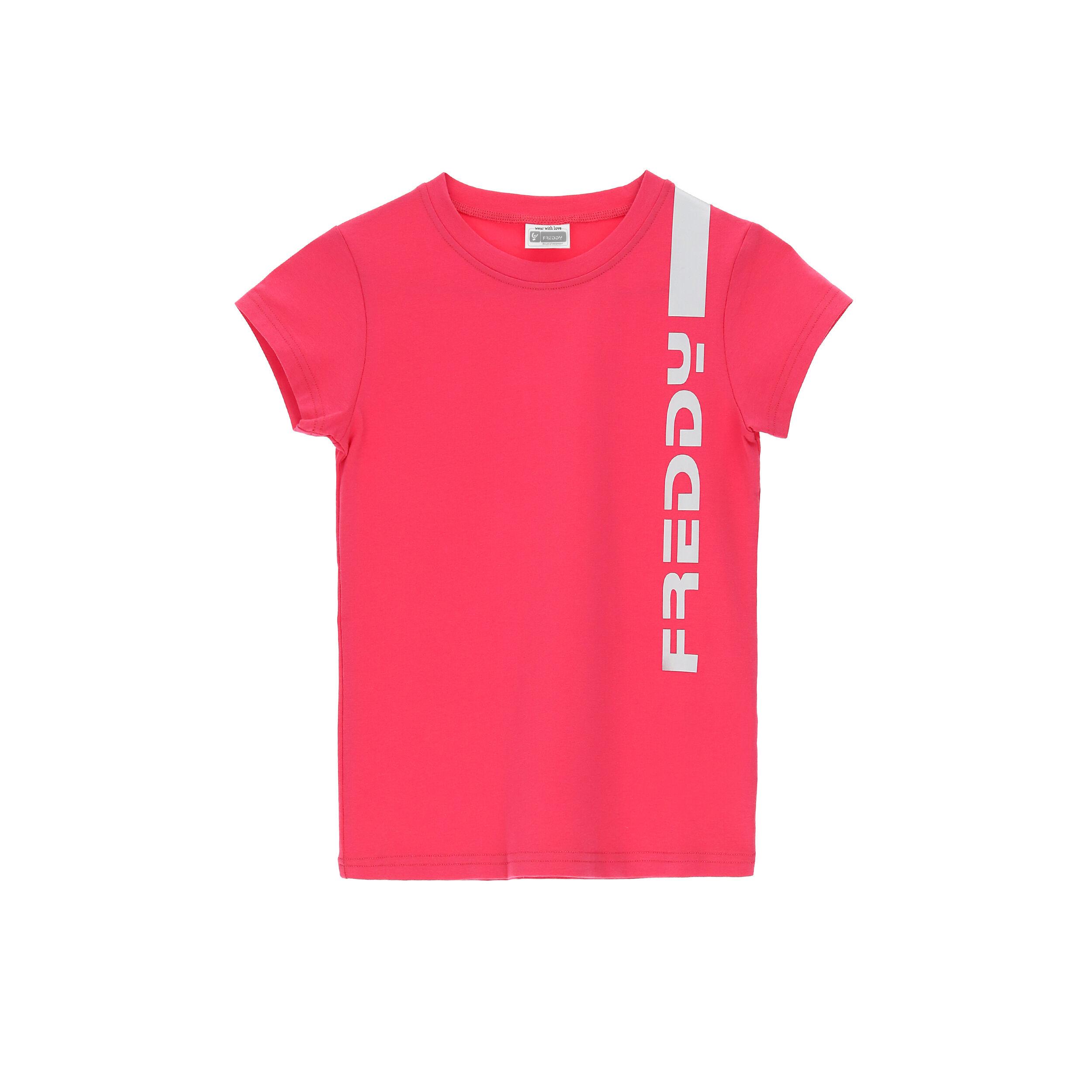 Freddy T-shirt stampa  verticale reflex - Ragazza 10-16 Fuxia