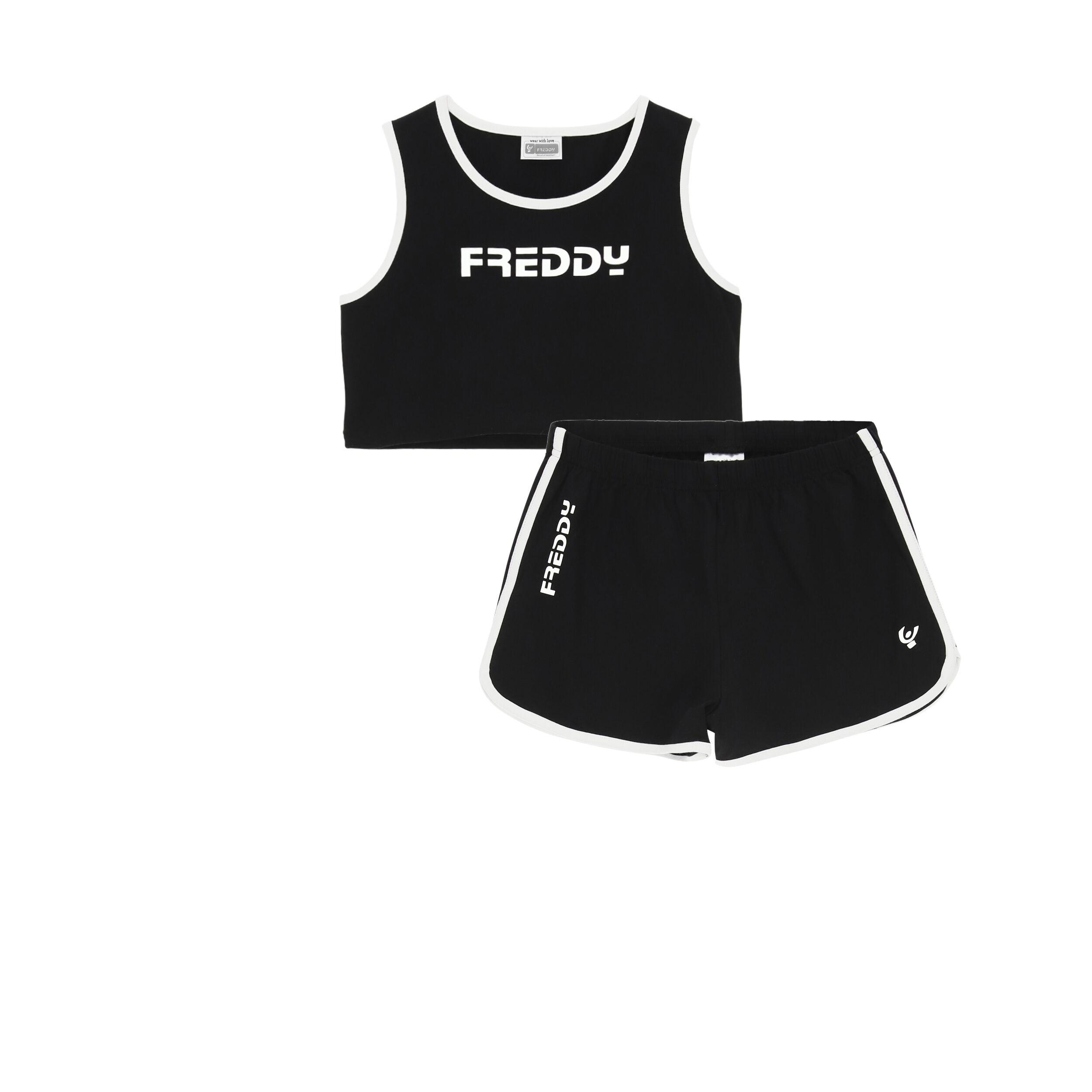 Freddy Completo canotta cropped e shorts – Ragazza 10-16 anni Black