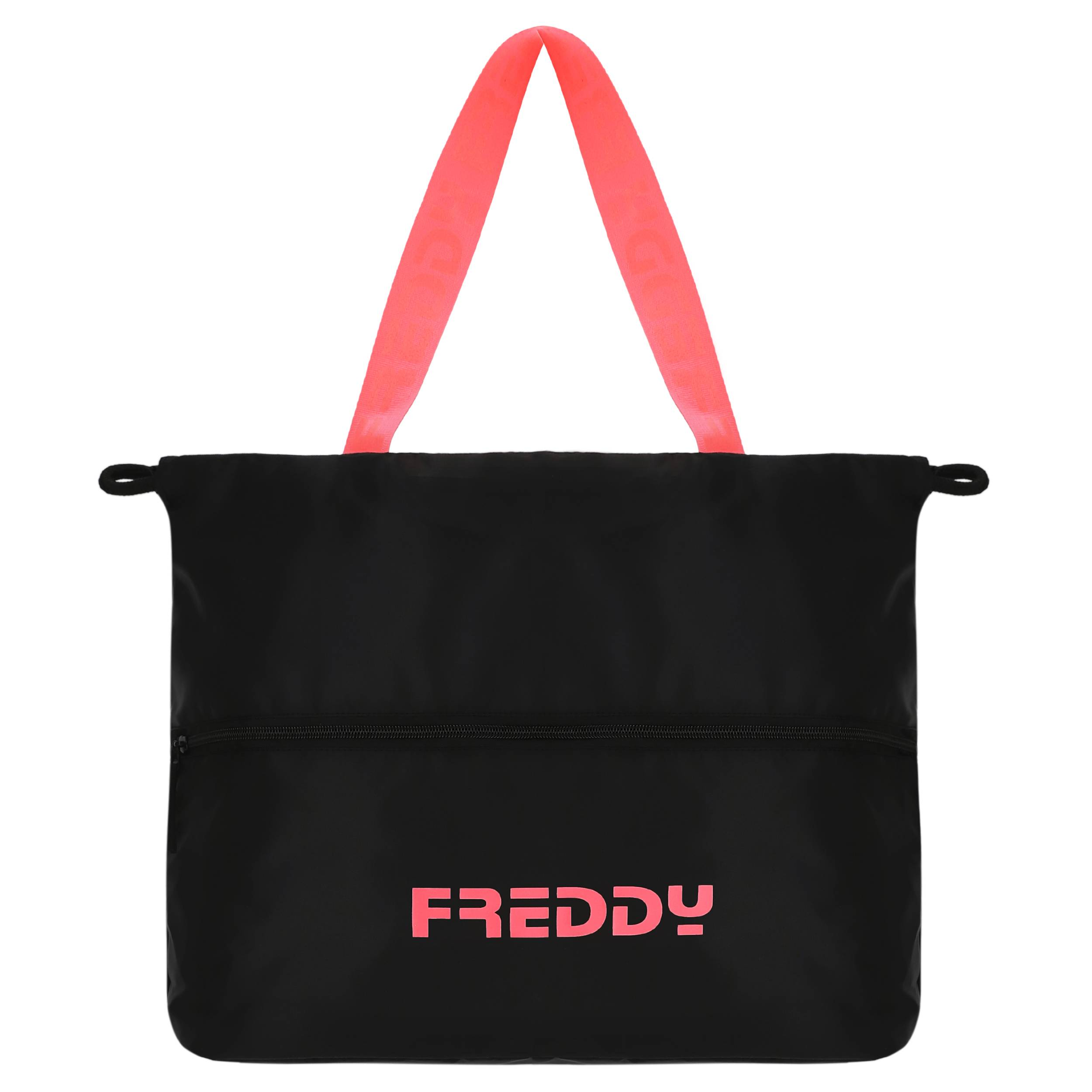 Freddy Borsa in nylon nero con dettagli fluo Nero-Arancio