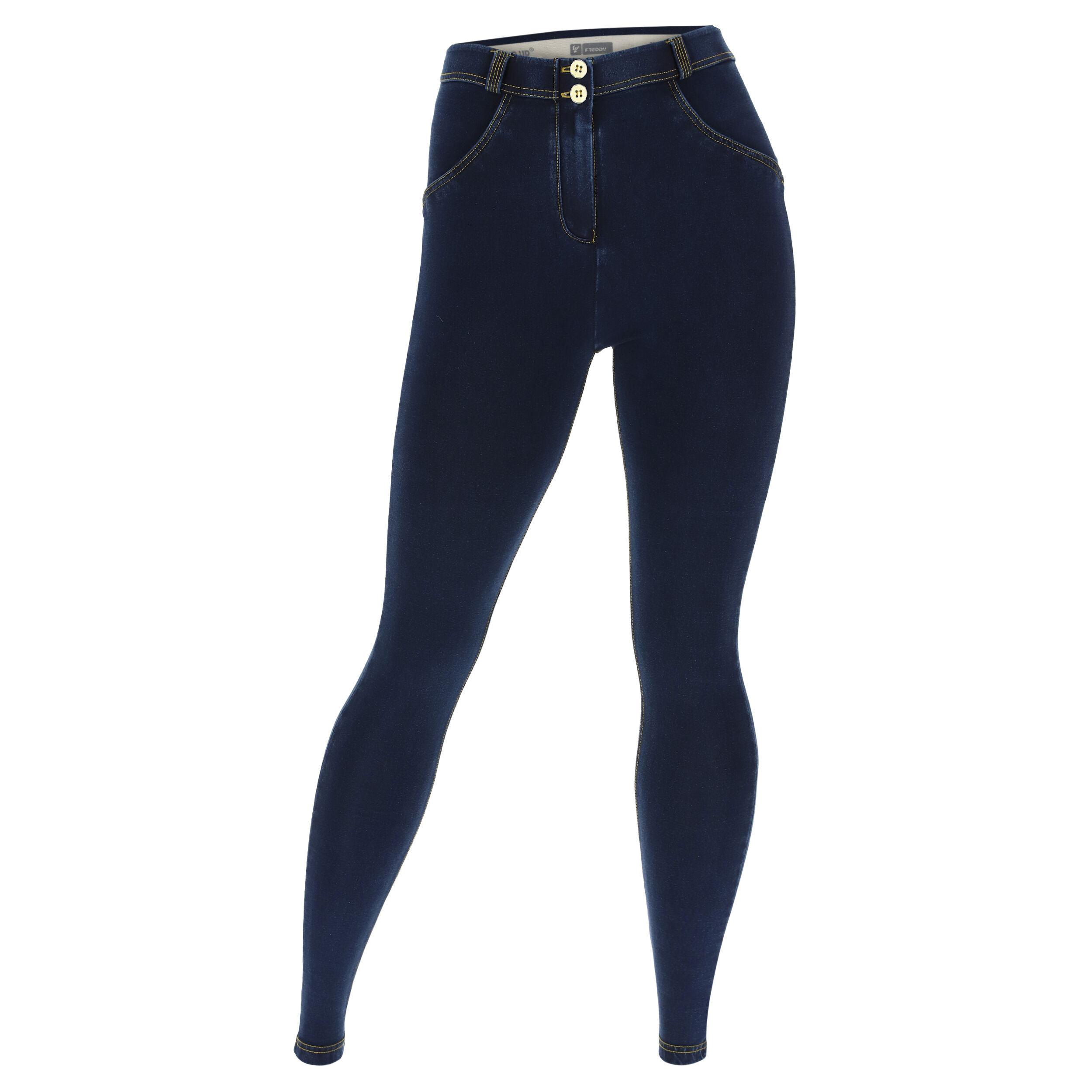 Freddy Jeggins push up WR.UP® vestibilità curvy denim scuro Jeans Scuro-Cuciture Gialle