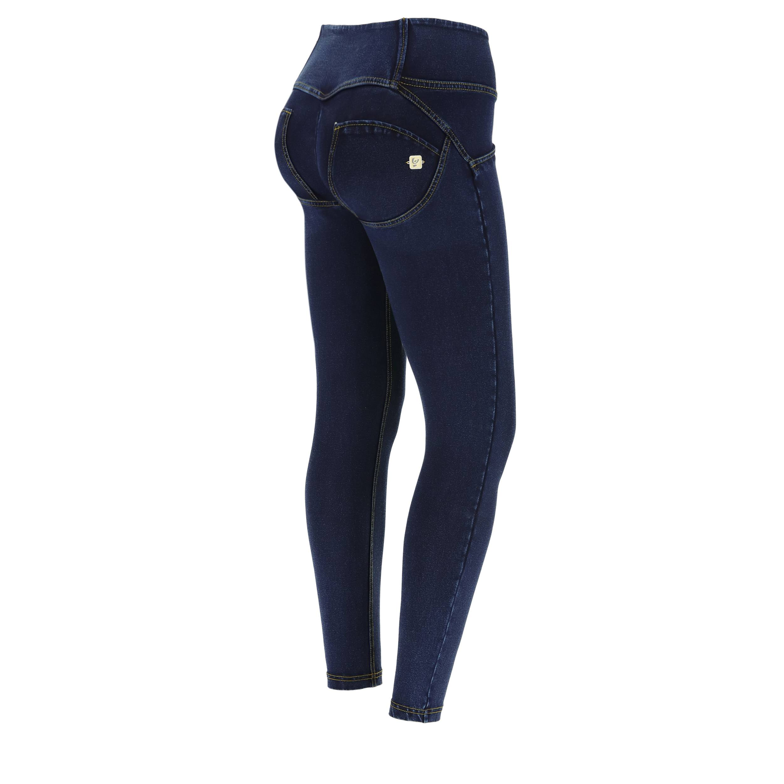 Freddy Jeggings push up WR.UP® 7/8 superskinny vita media Jeans Scuro-Cuciture Gialle