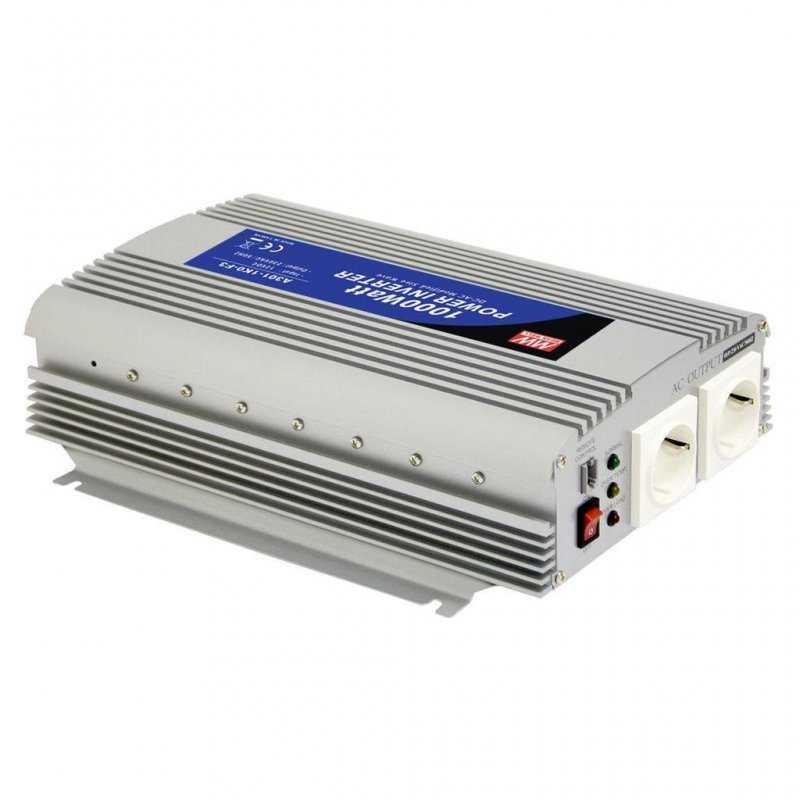 A301-1K0-F3 - Inverter MeanWell 1000W - In 12V Out 220 VAC Onda Sinusoidale Modi