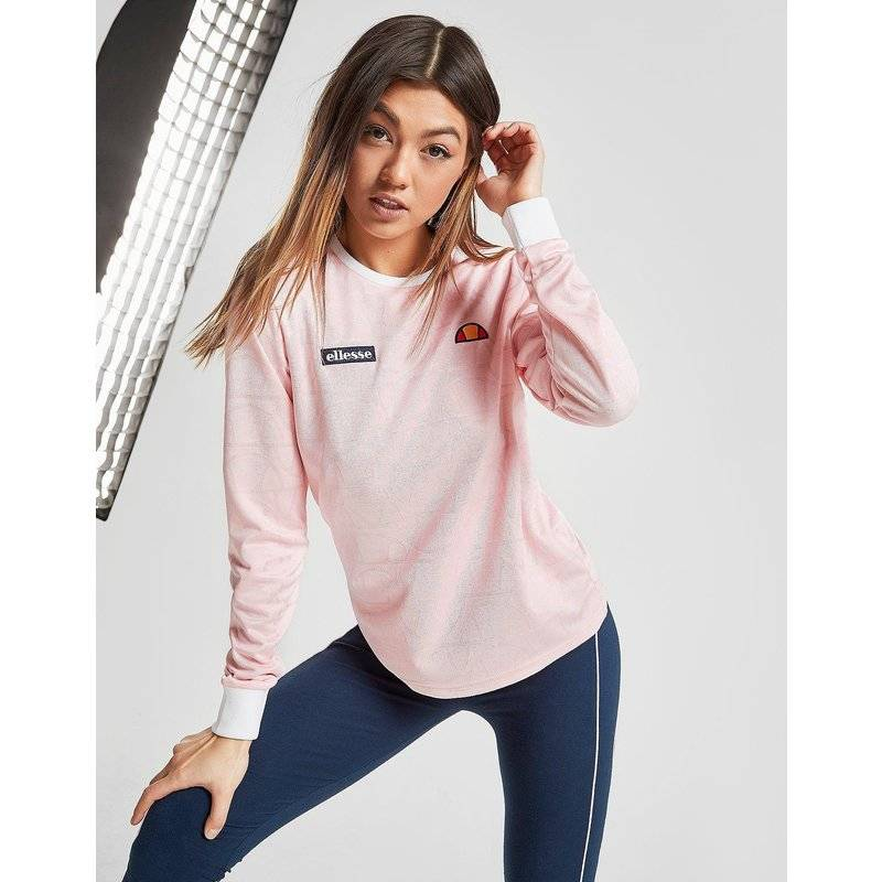 Ellesse All Over Print Logo Long Sleeve T-Shirt - Only at JD, Rosa